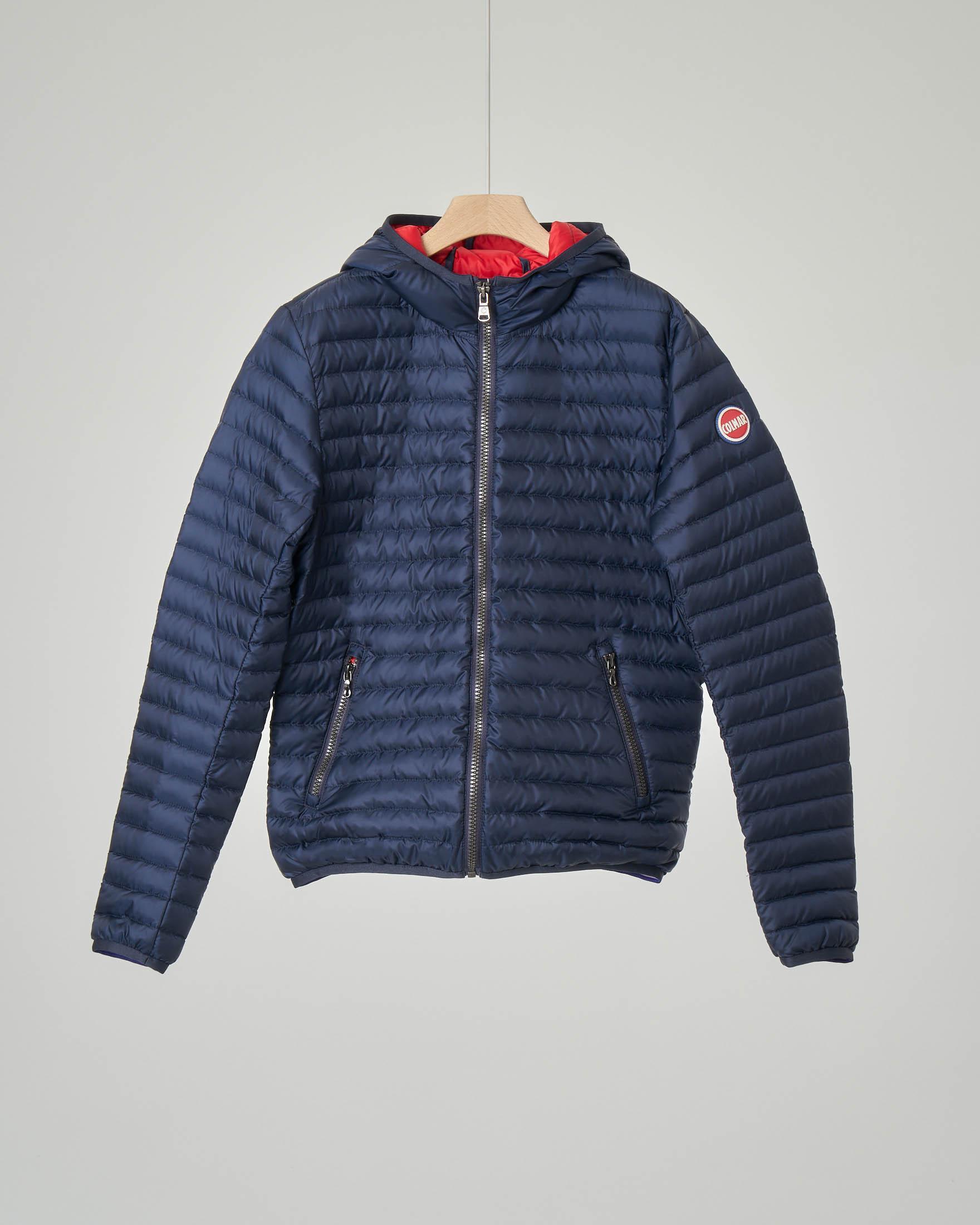 Piumino blu con cappuccio 8-10 anni