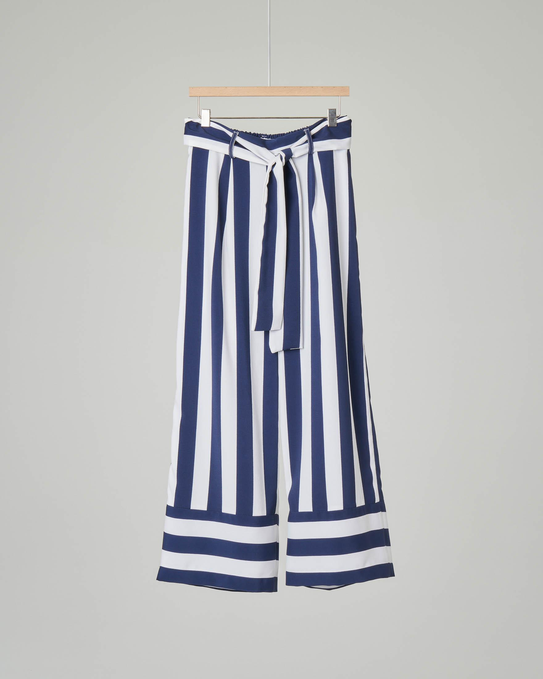 Pantalone palazzo a riga bianca e blu taglia 40-44