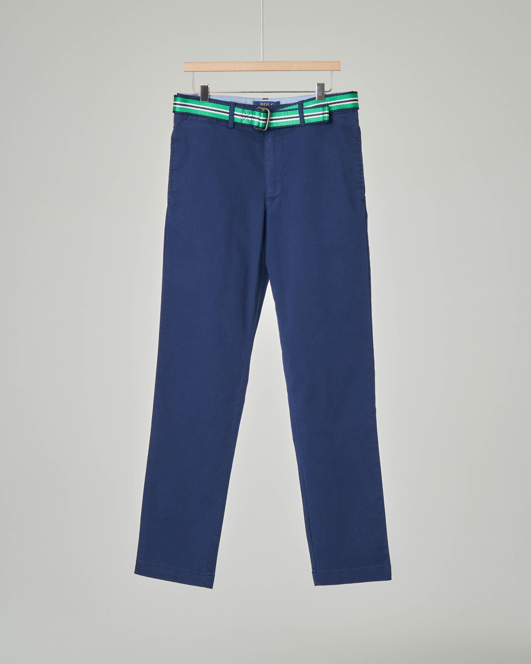 Pantalone chino blu con cintura