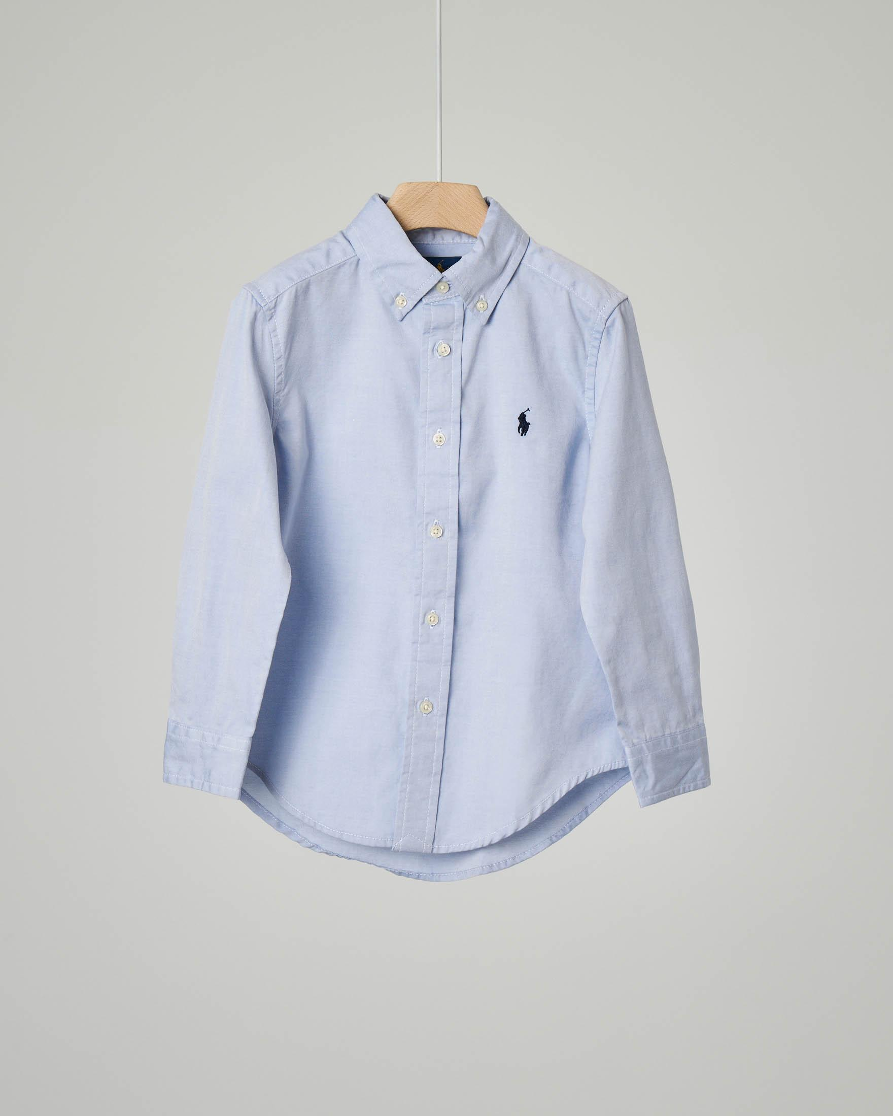 Camicia azzurra button down in oxford 8 anni