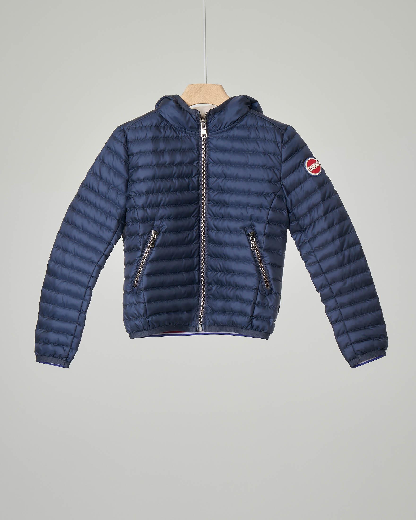 Piumino blu con cappuccio 4-6 anni