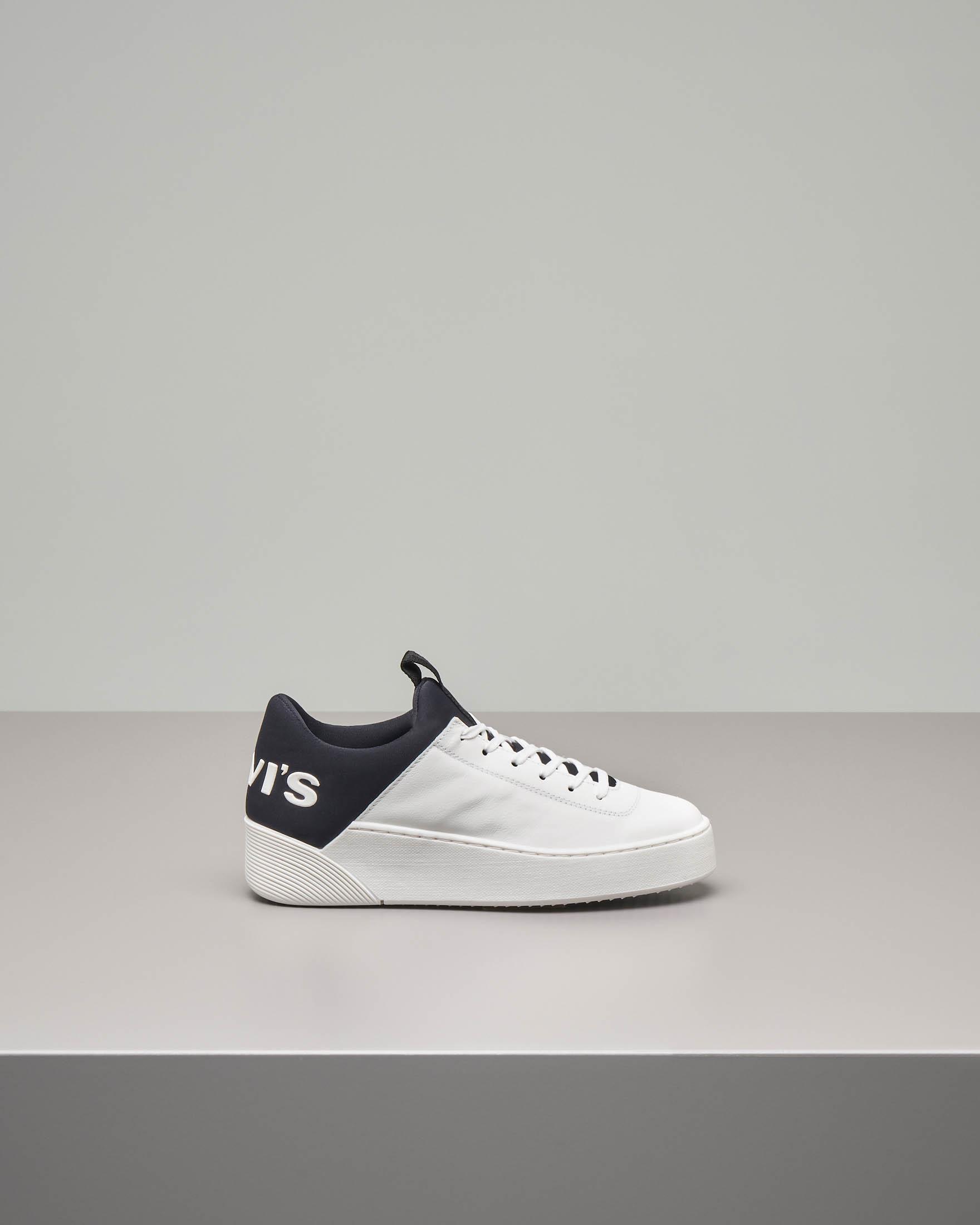 Sneaker Levi's Mullet bianche con logo oversized blu