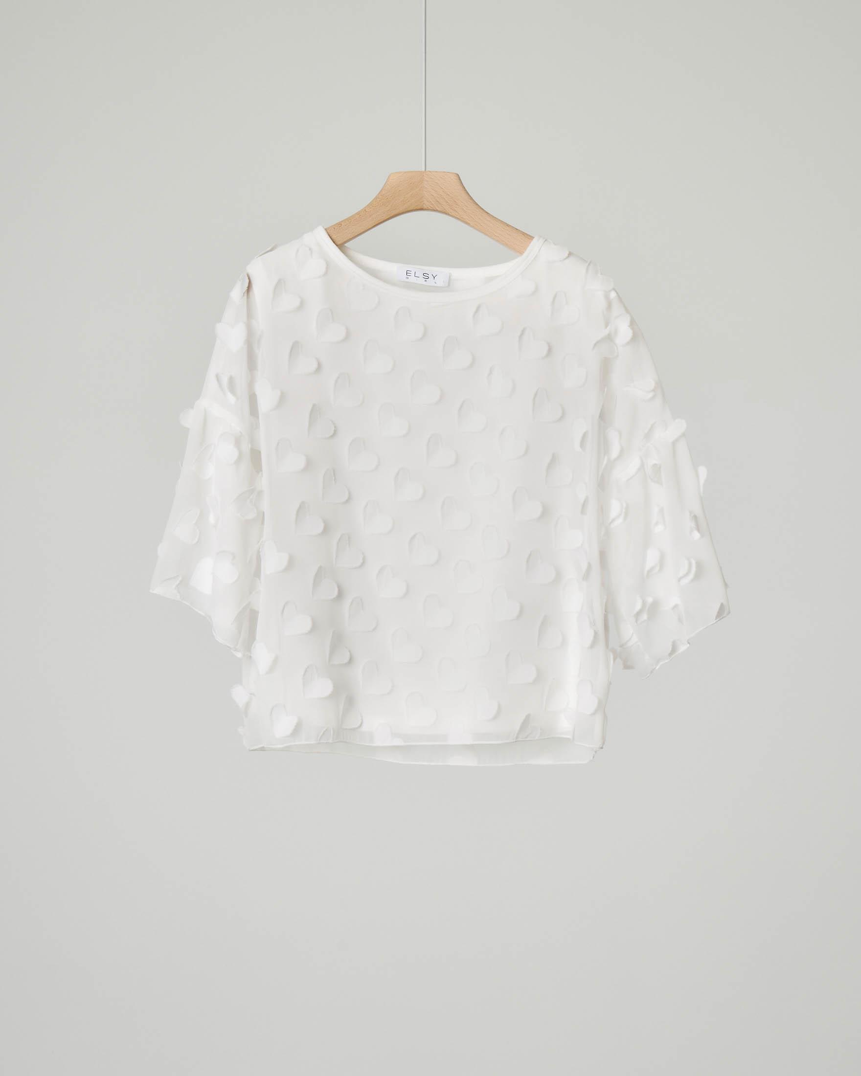Camicia avorio con cuori in seta taglia 36-38