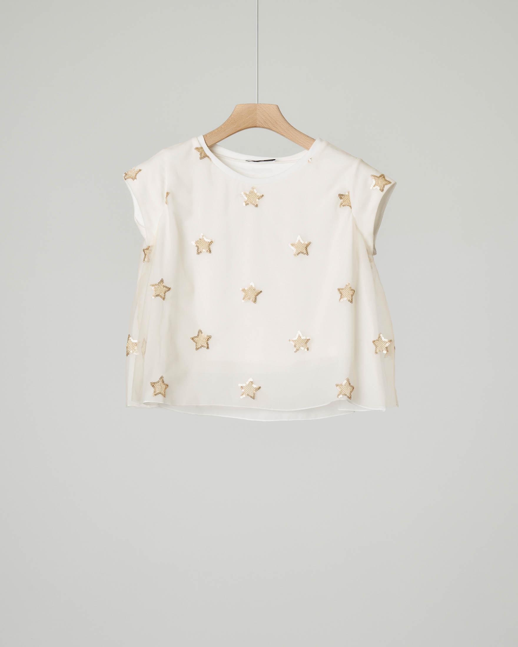 T-shirt avorio in tulle con stelle taglia 40-44
