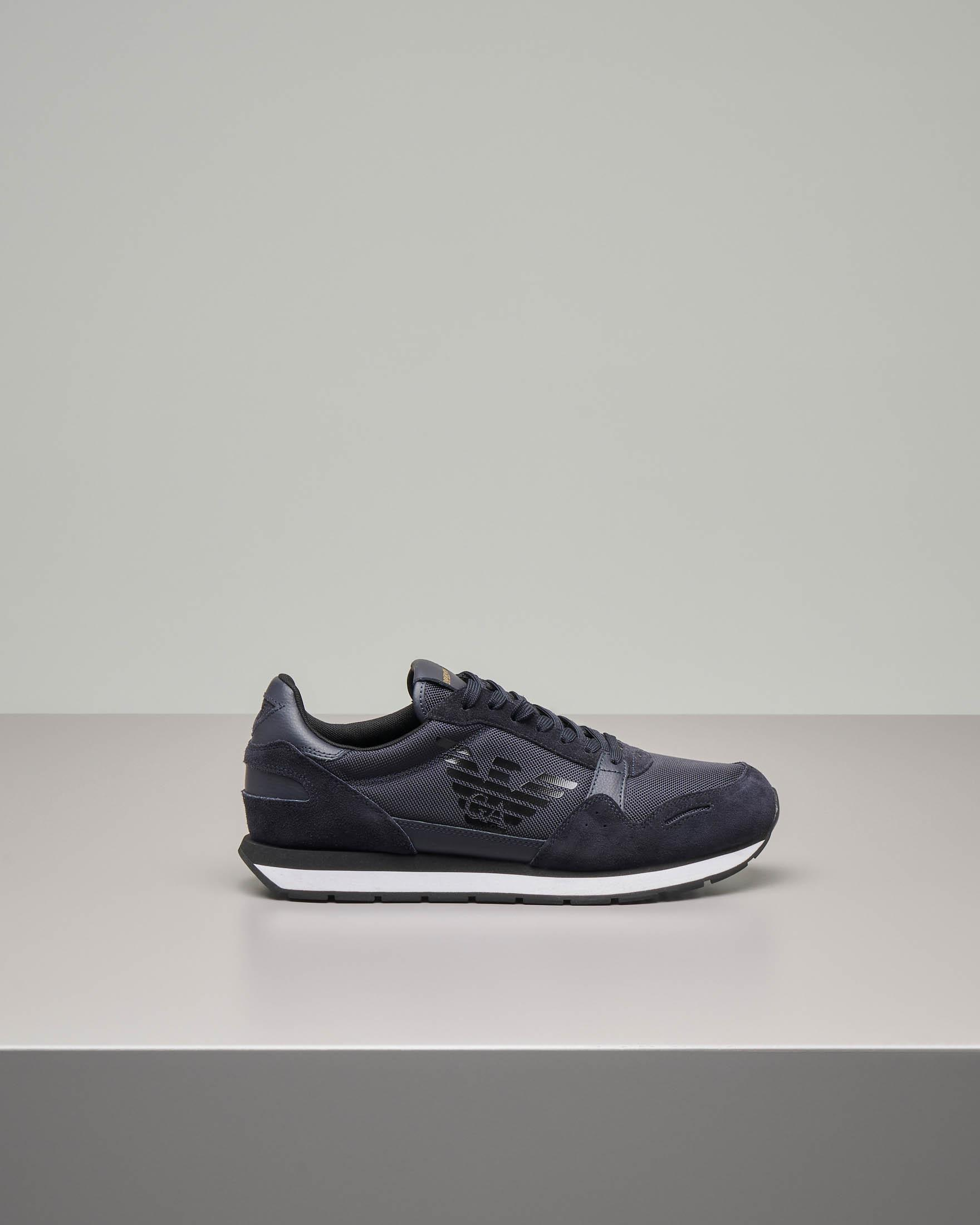 Sneakers blu navy in pelle scamosciata