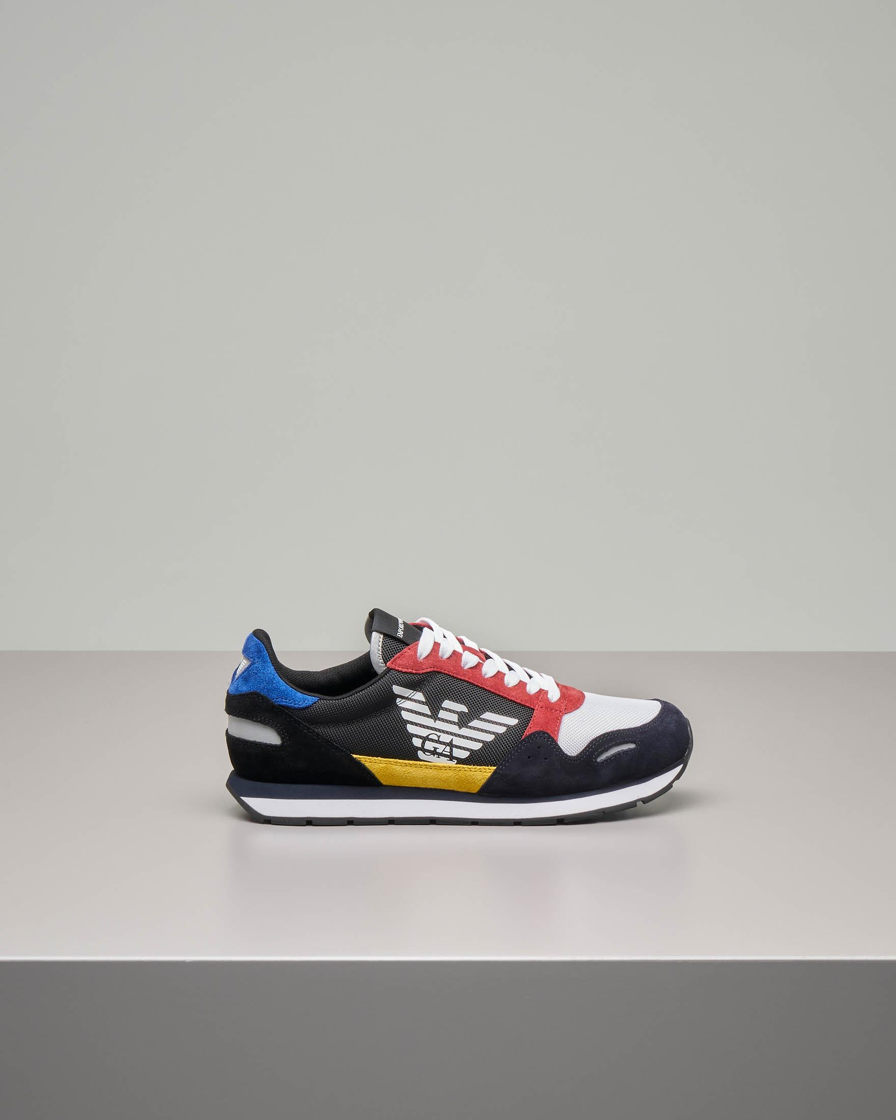Sneakers multicolor in pelle scamosciata