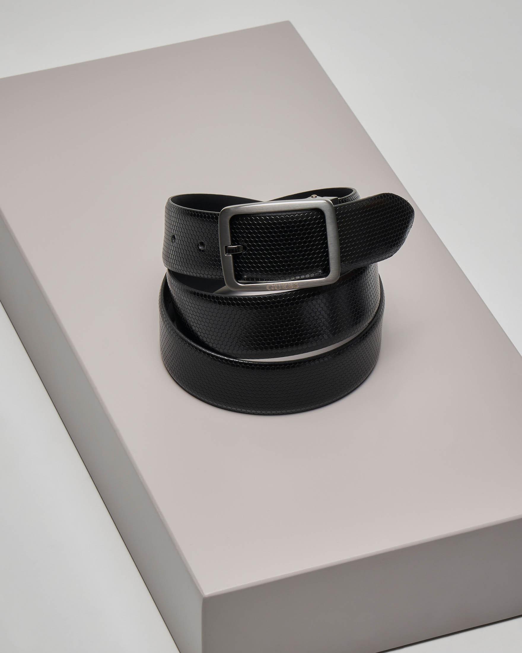 Cintura nera in pelle micro-disegno