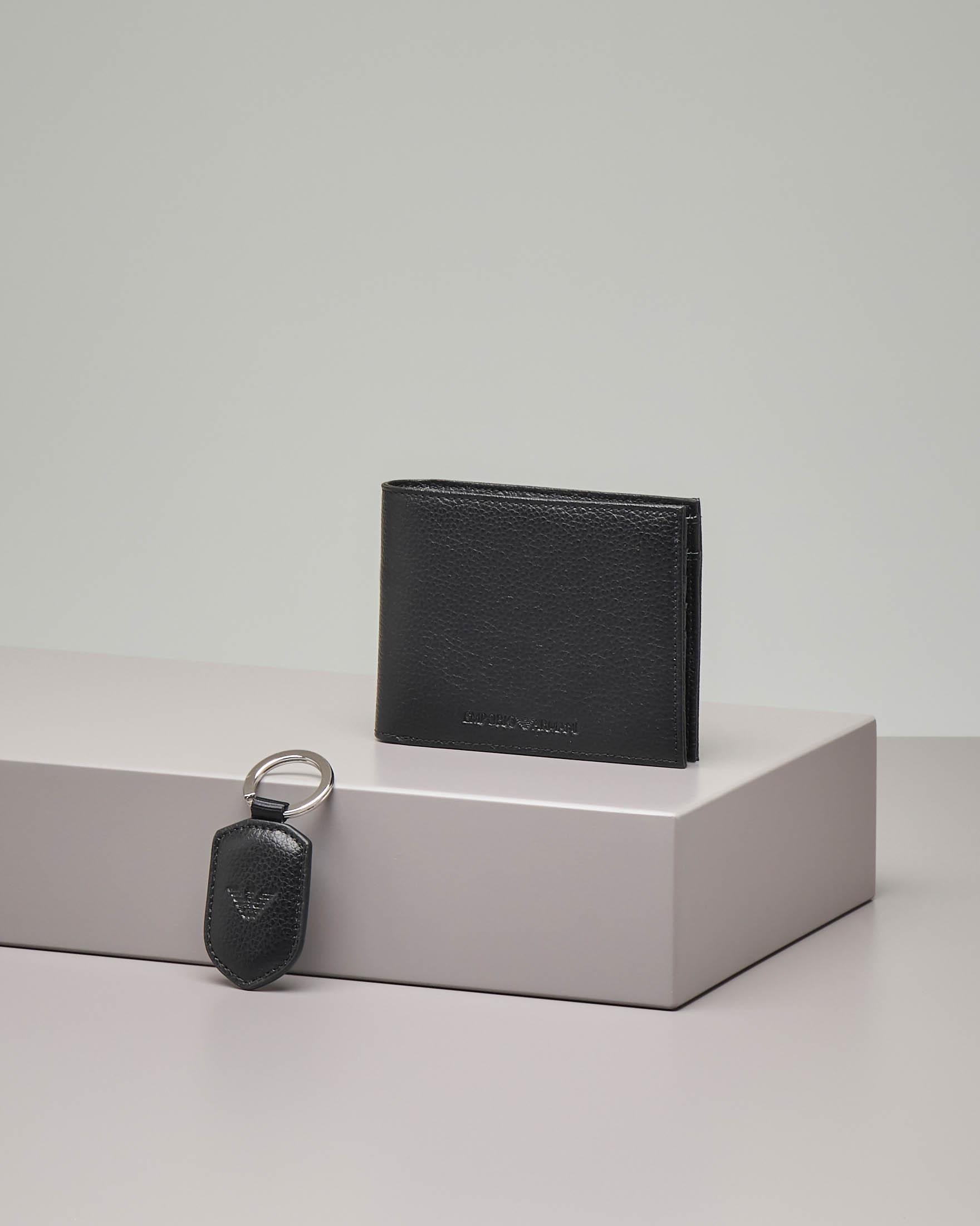 Cofanetto portafoglio e portachiavi nero in pelle