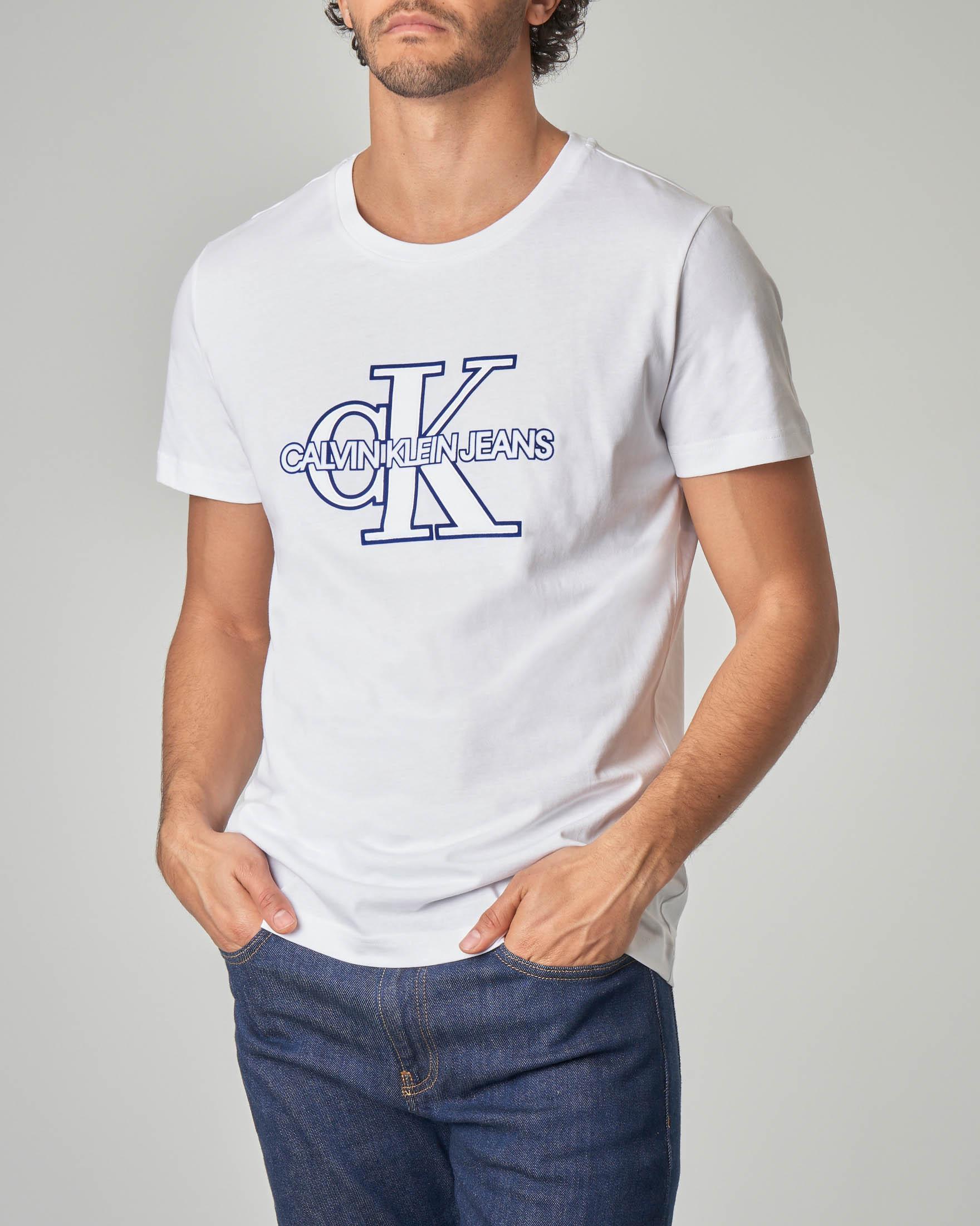 T-shirt bianca con logo CK reissue
