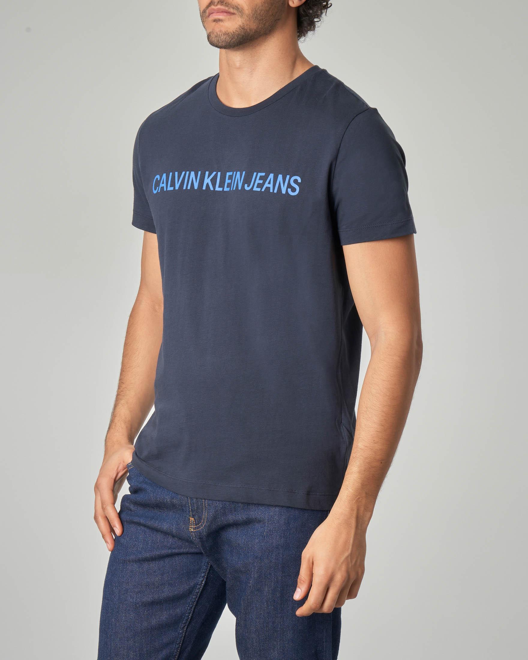 T-shirt blu con logo royal