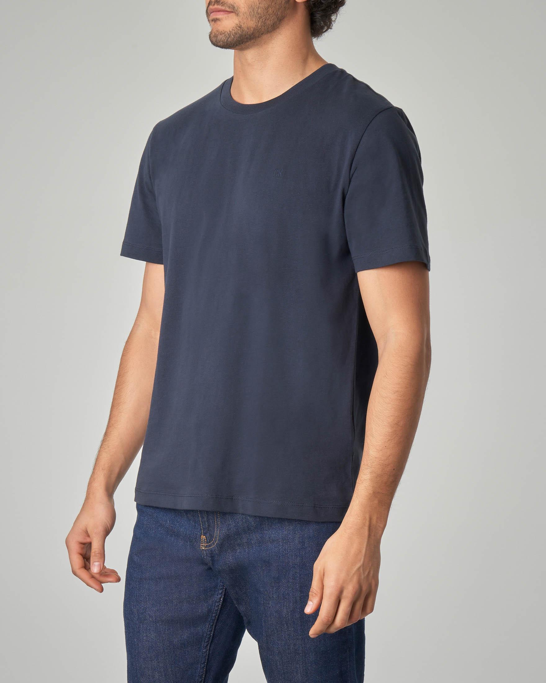 T-shirt blu con logo CK