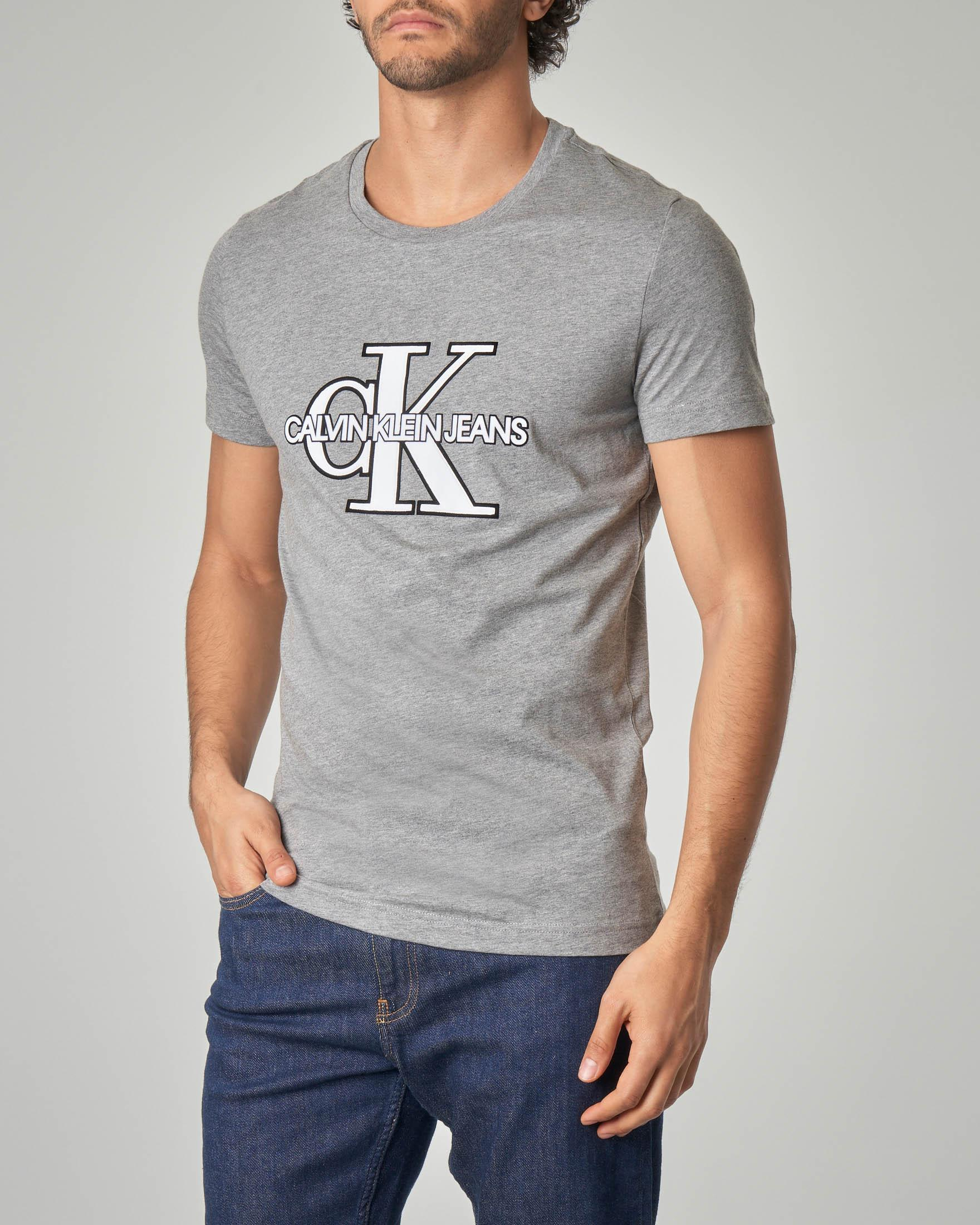 T-shirt grigia con logo CK reissue