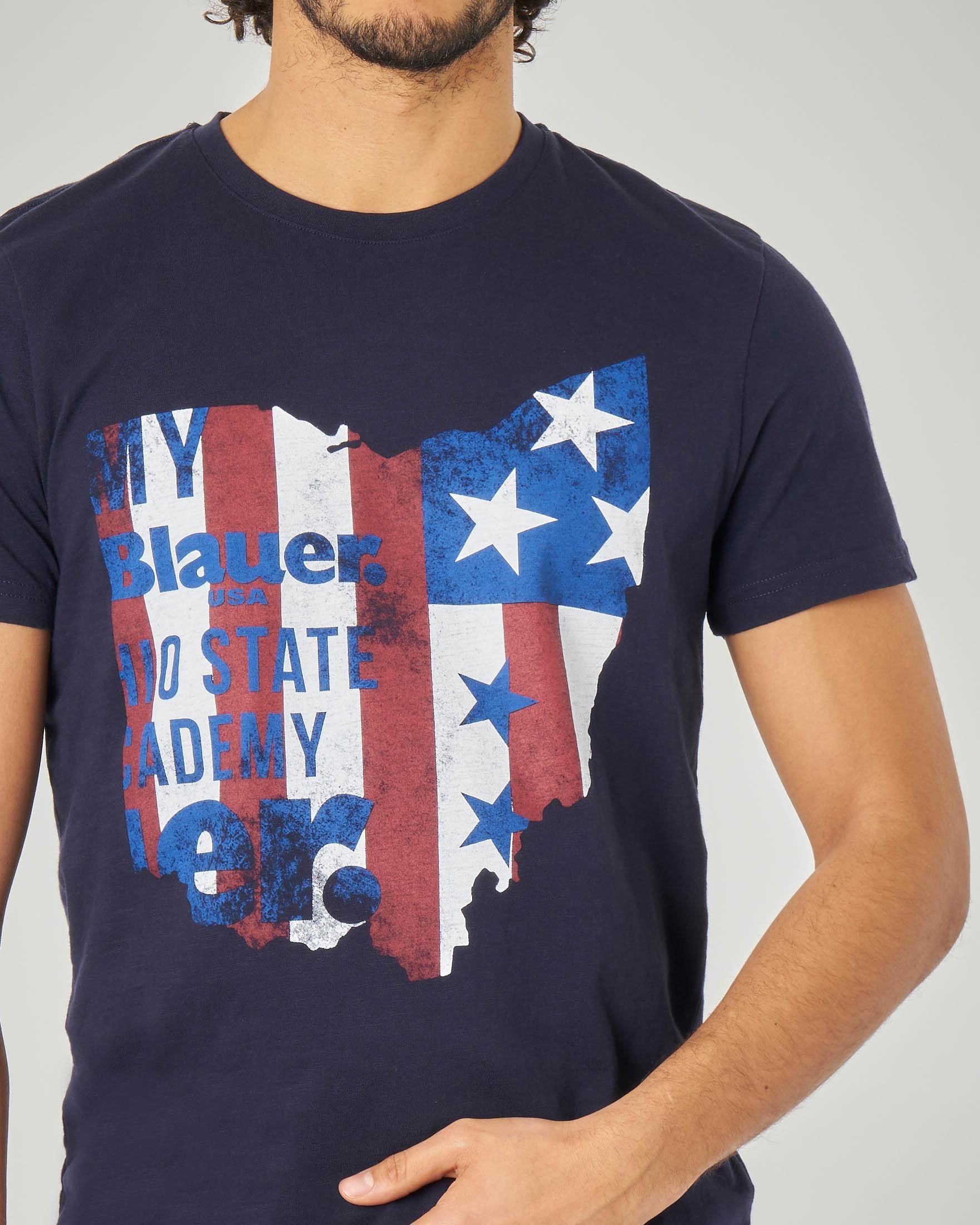T-shirt blu con stampa USA
