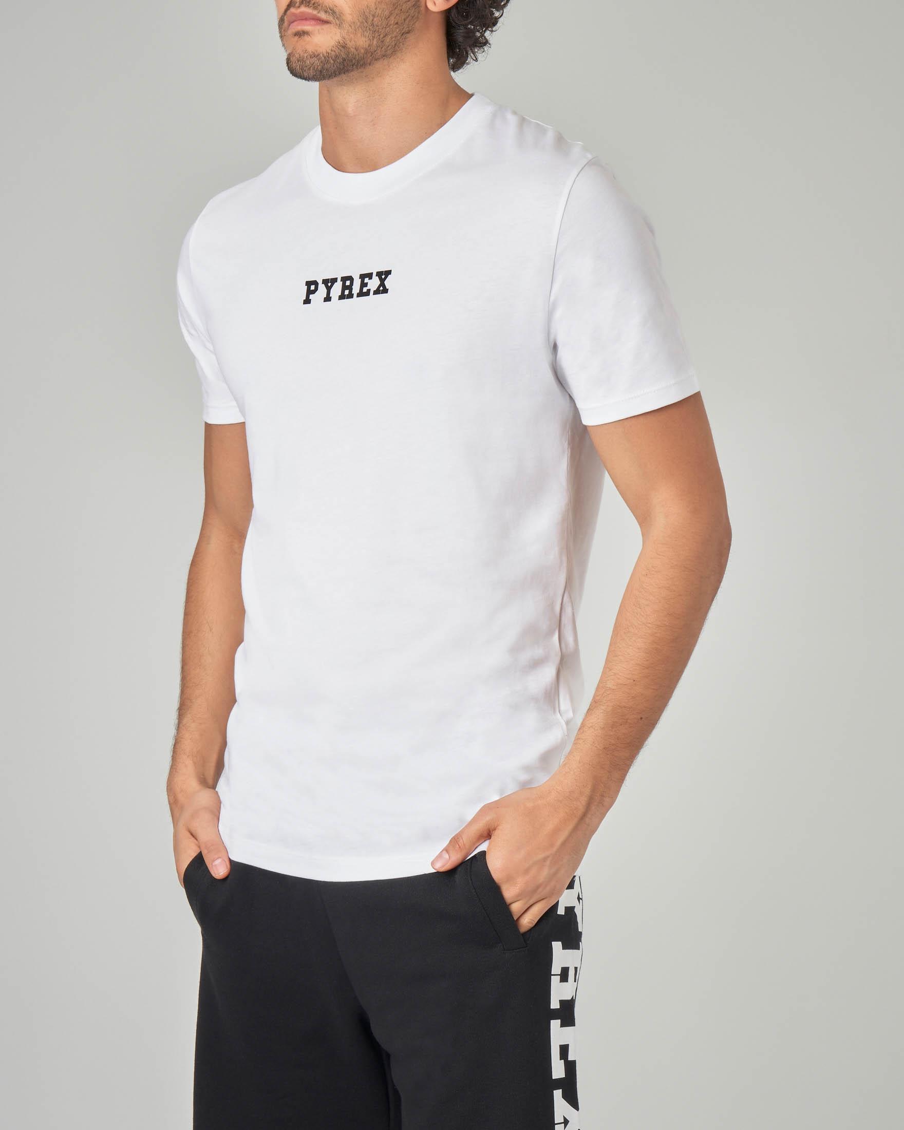 T-shirt bianca con fascia logata sul retro