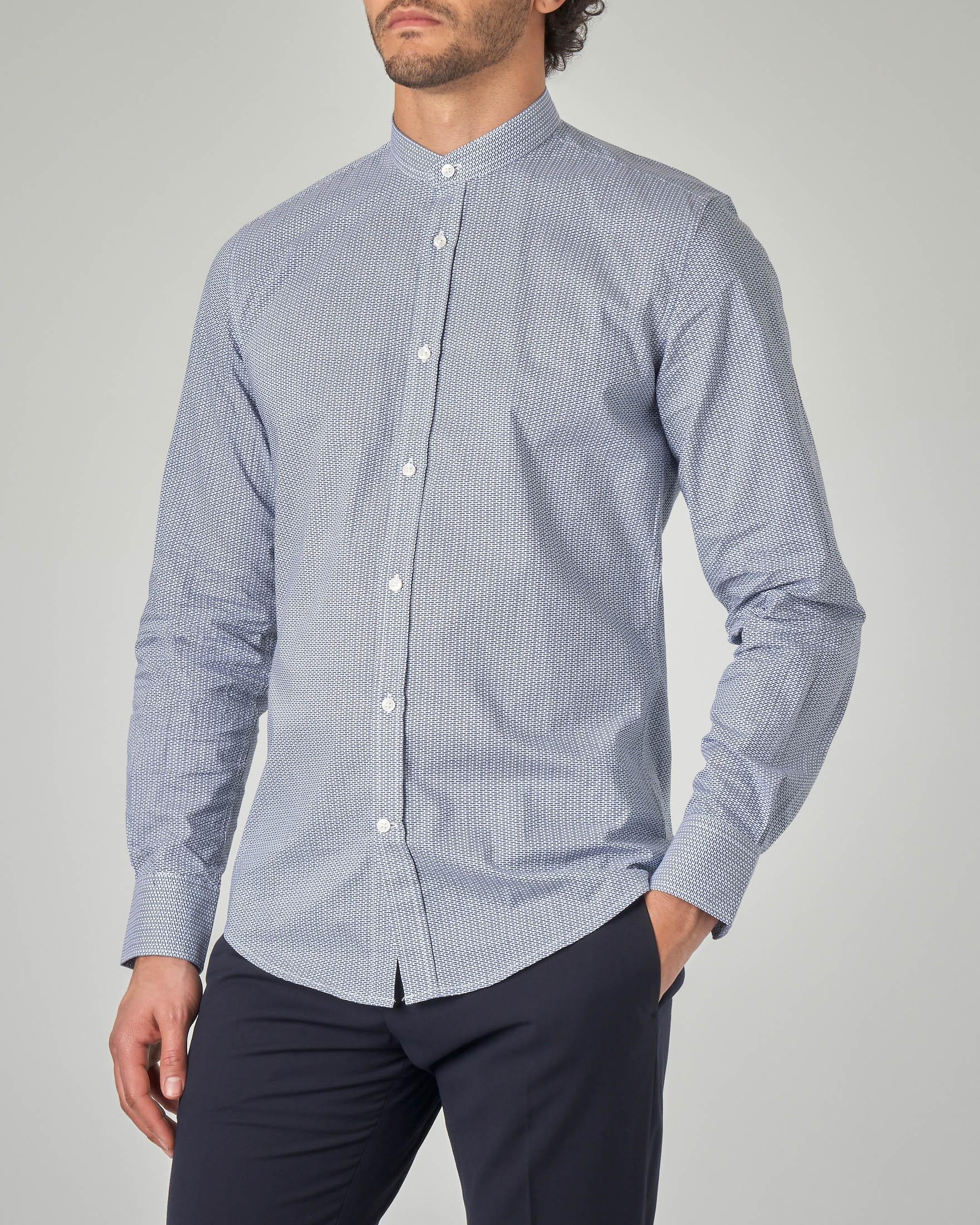 Camicia azzurra coreana a stampa geometrica