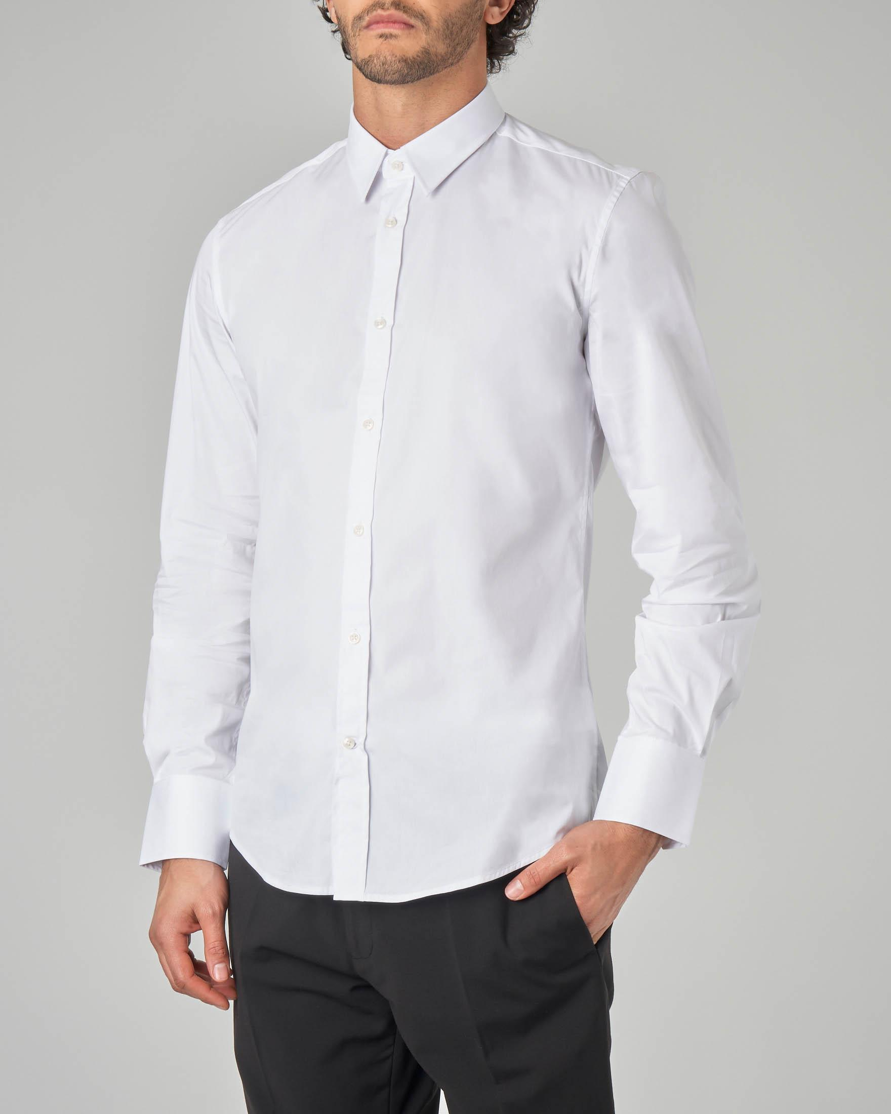Camicia bianca in popeline stretch