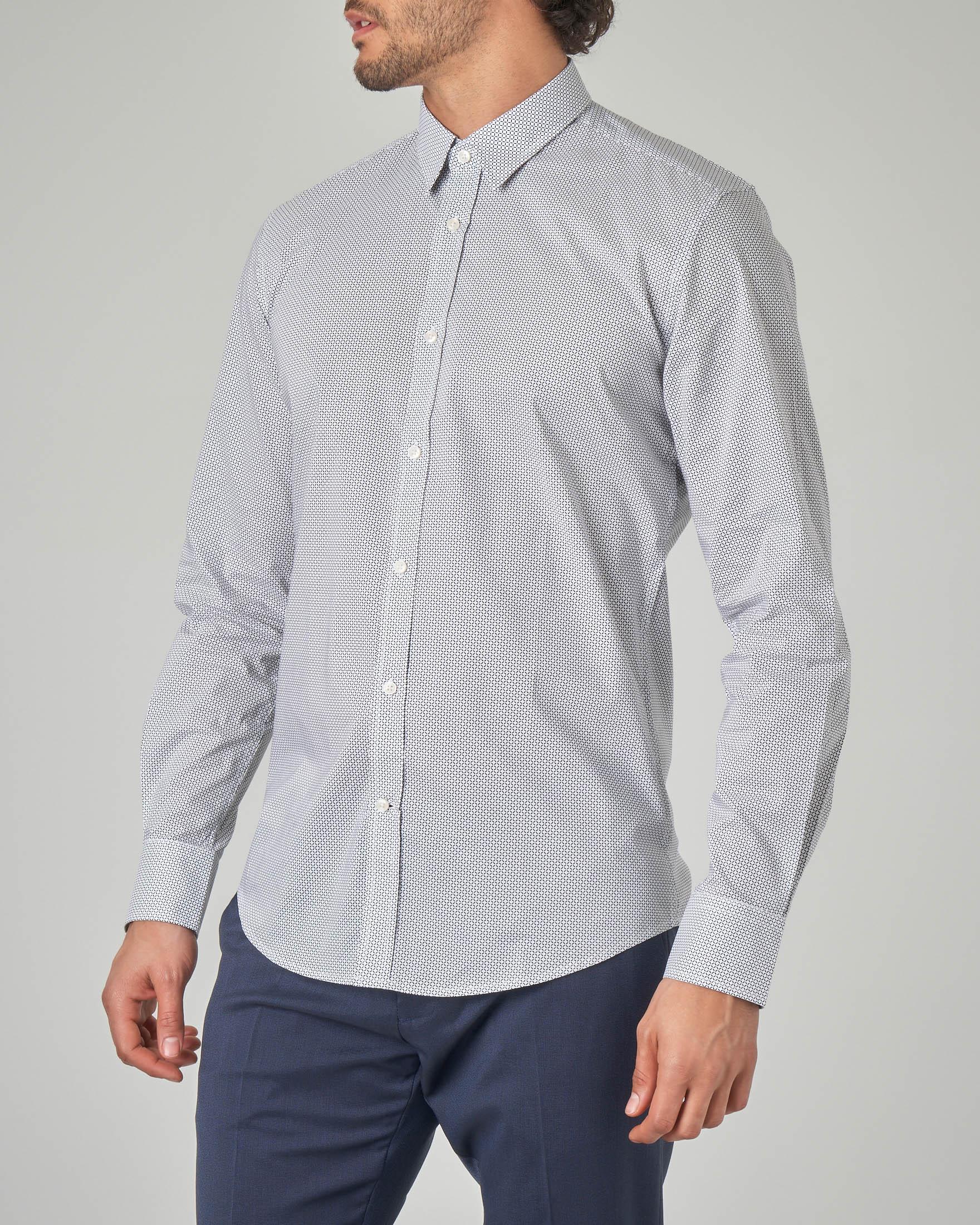 Camicia bianca a stampa micro-rombetto
