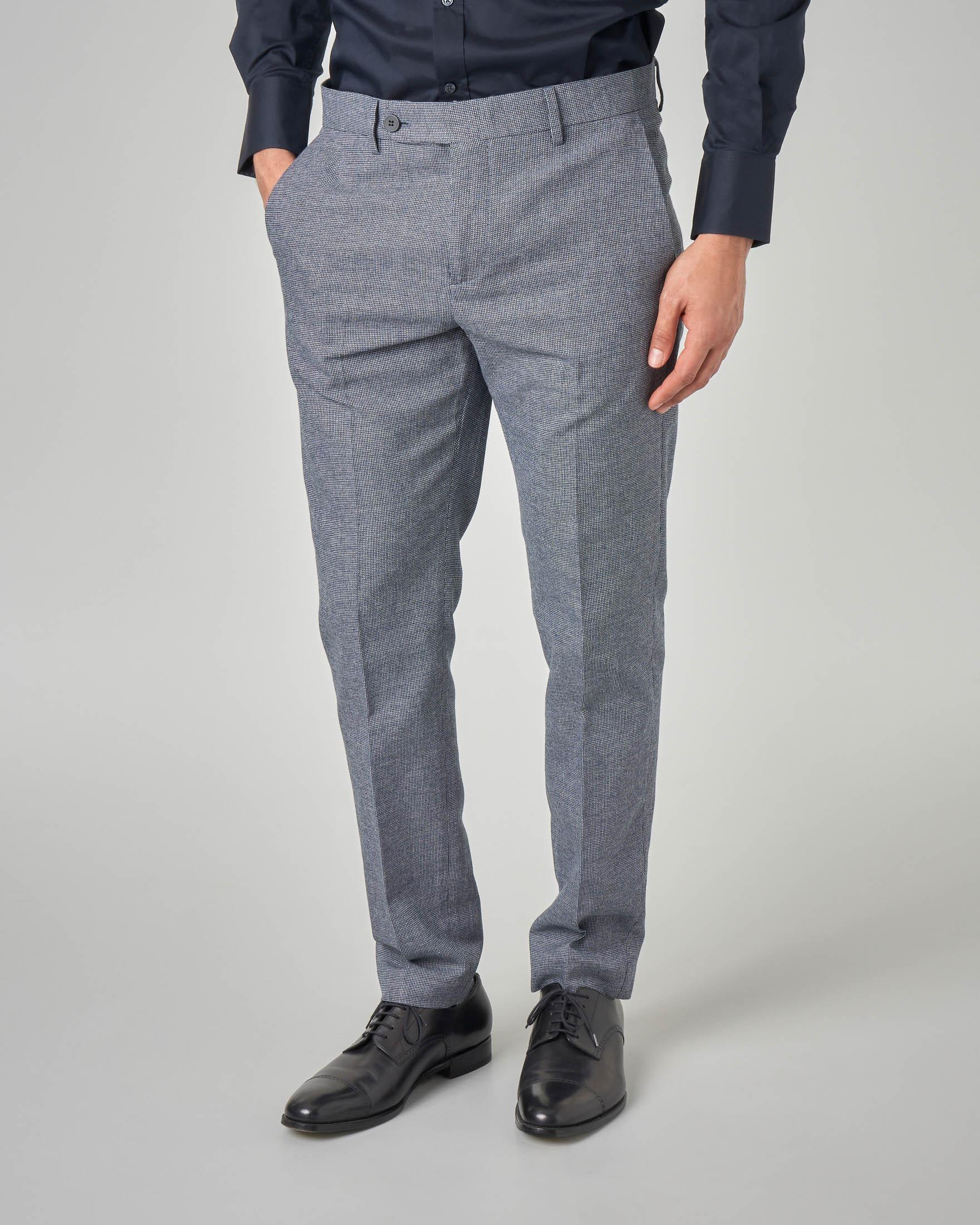 Pantalone blu in cotone micro-armatura