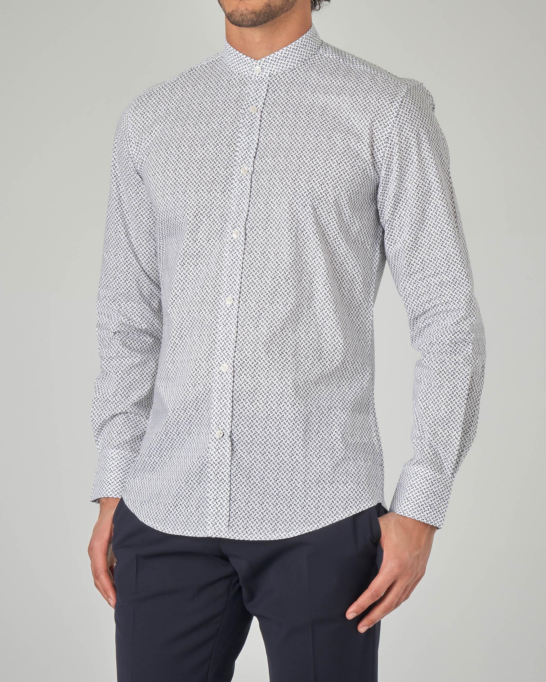 Camicia bianca coreana micro-fantasia