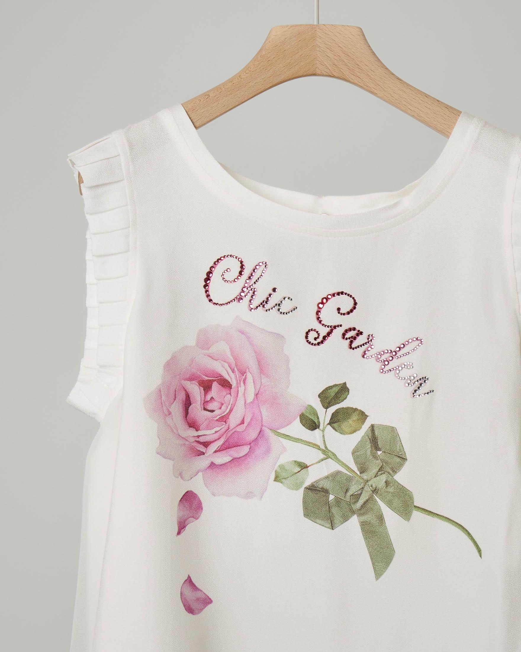 Blusa avorio in crêpe con stampa rosa
