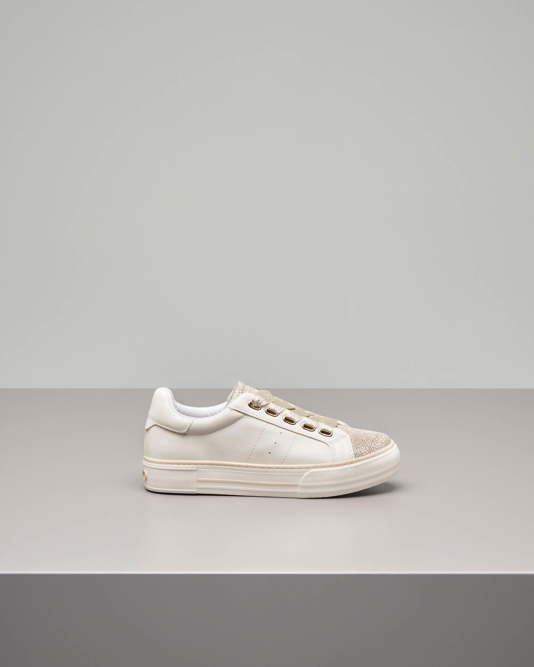 Sneakers bianca puntale oro taglia 35