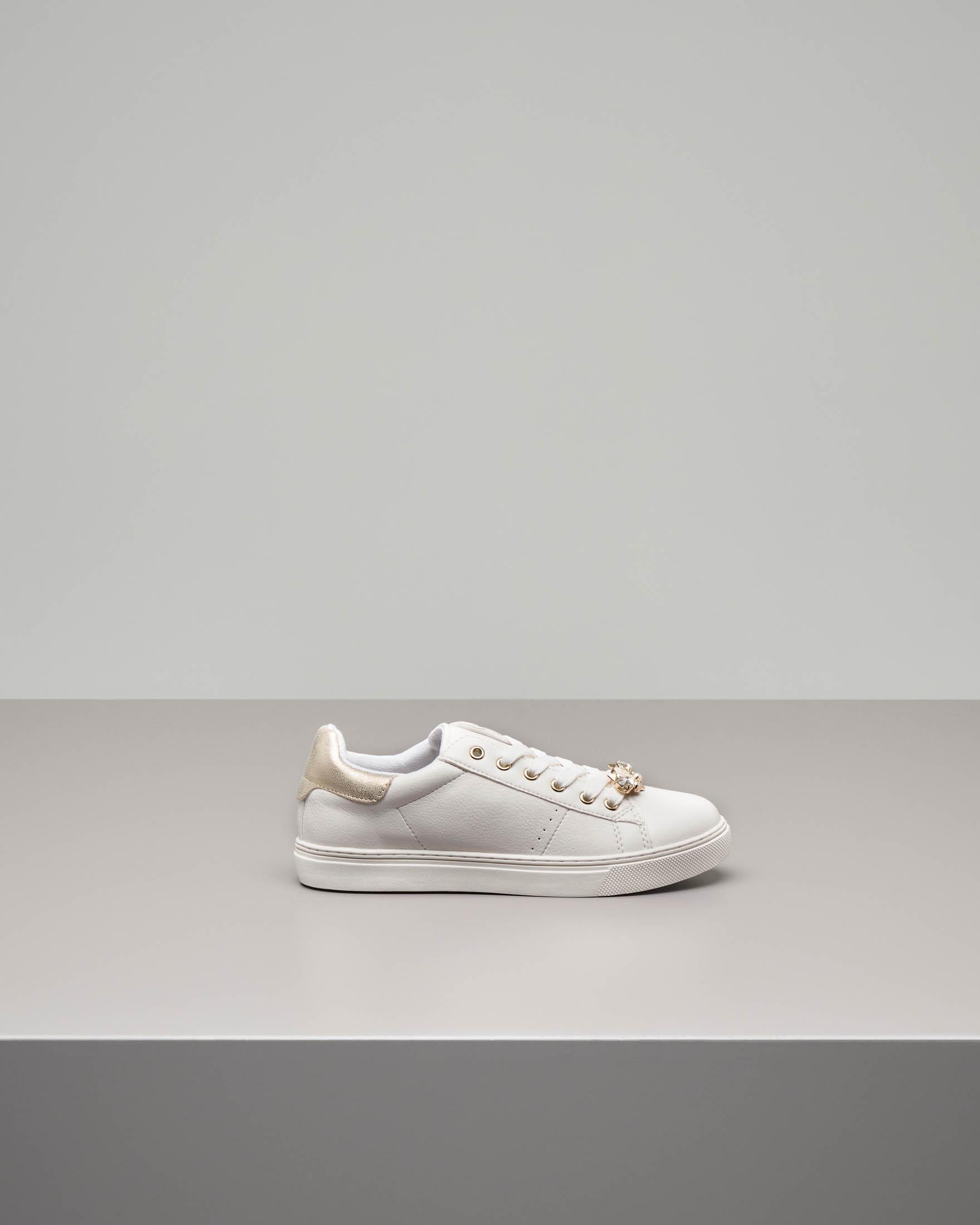 Sneakers bianco/oro con gioiello taglia 32-35
