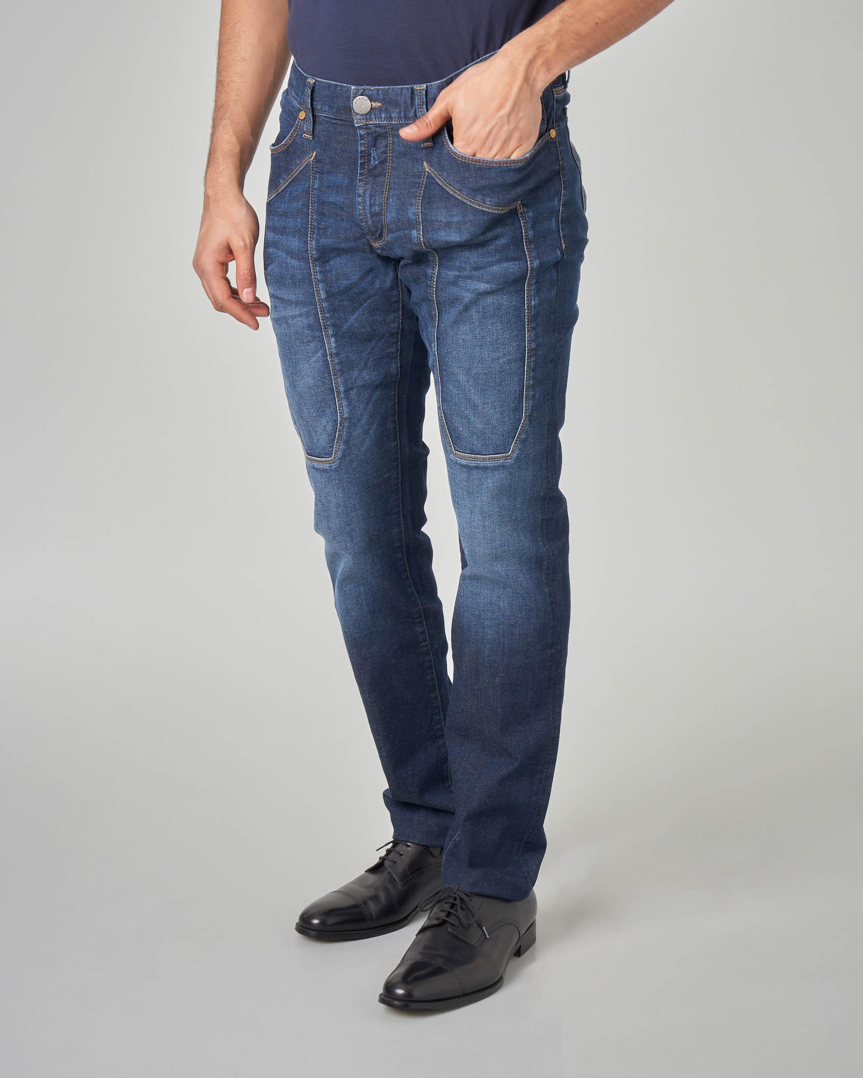 Jeans PA77 con toppa lavaggio scuro stone wash