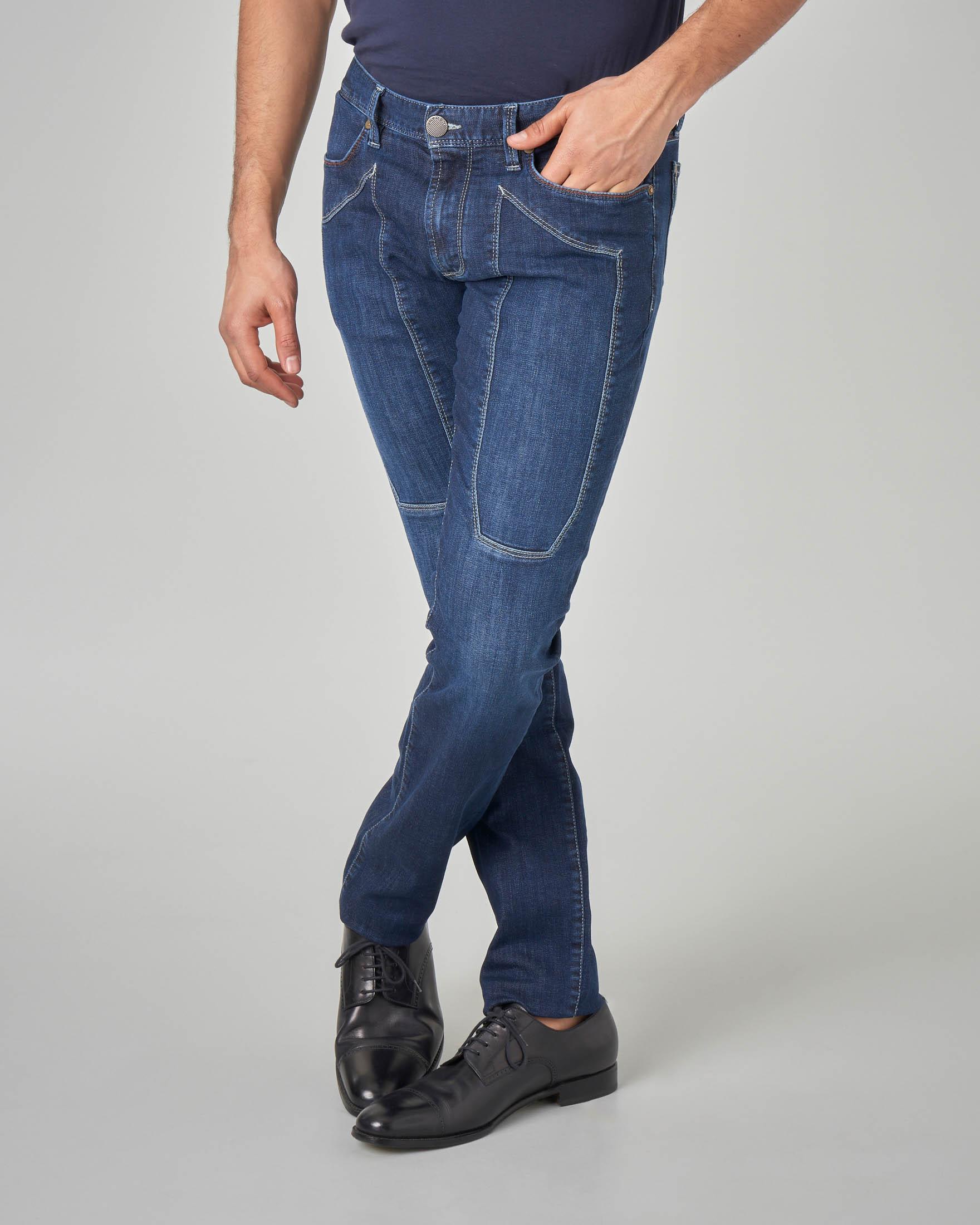 Jeans PA77 con toppa lavaggio medio-scuro
