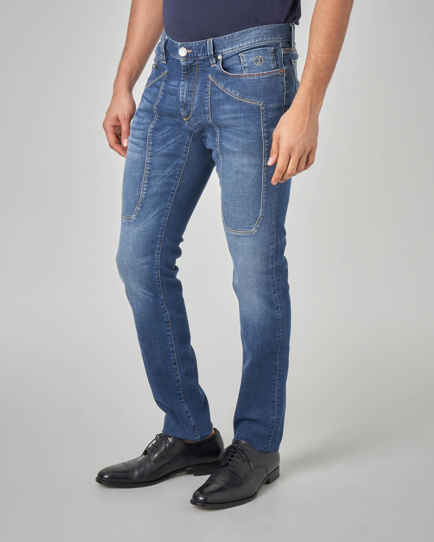 Jeans PA77 con toppa lavaggio stone wash