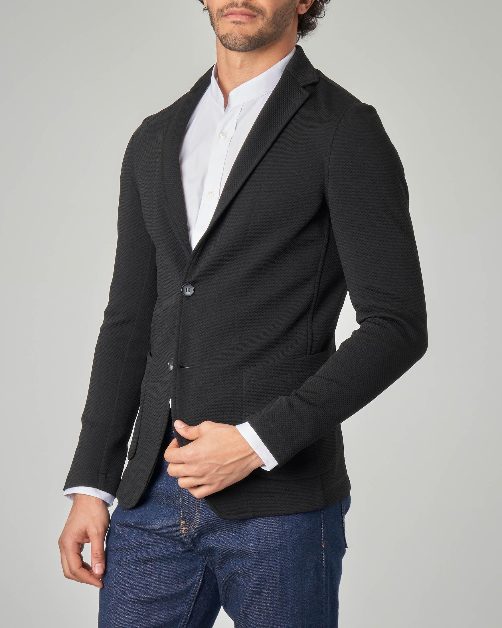 Giacca maglia nera in tessuto armaturato