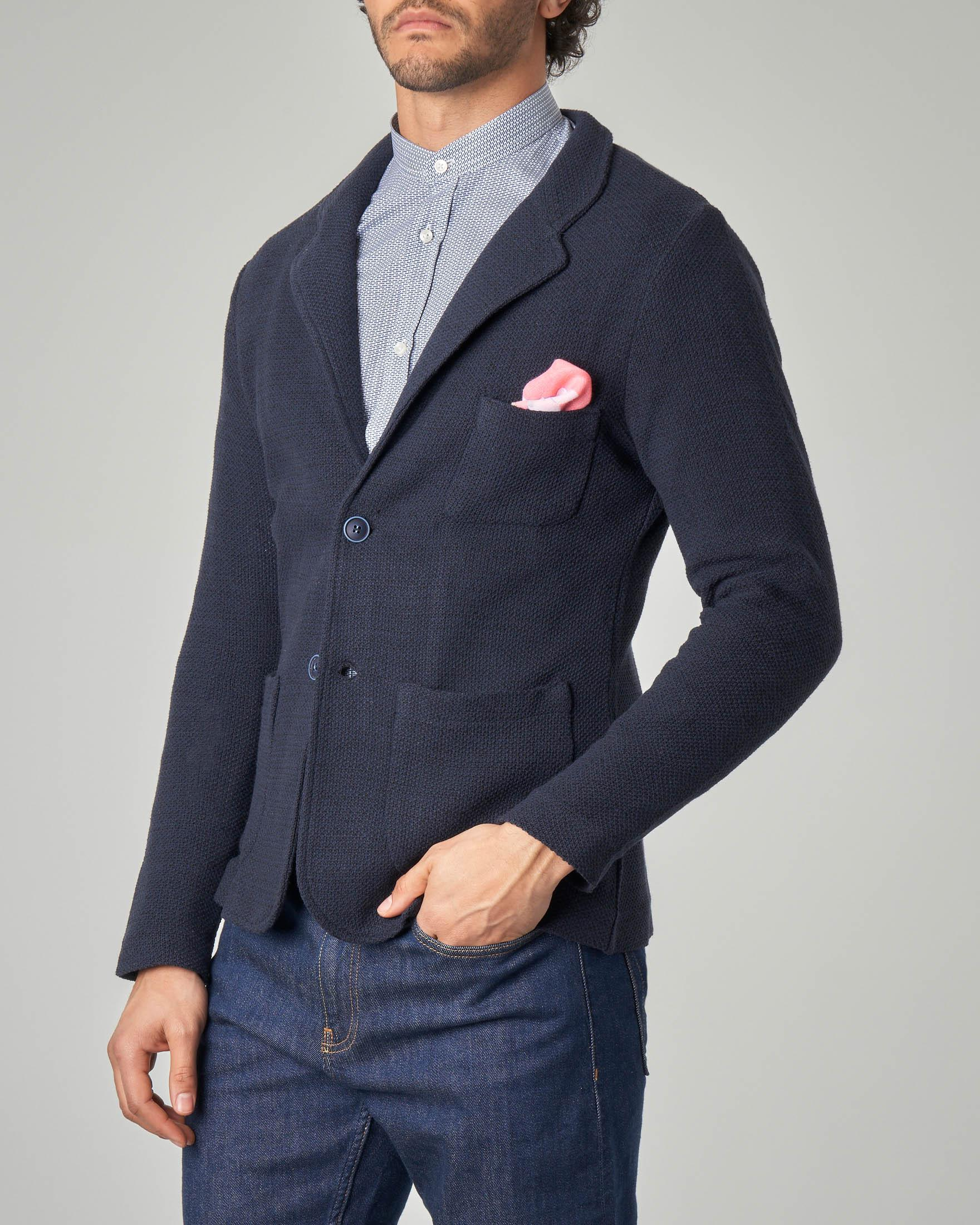 Giacca maglia blu con taschino
