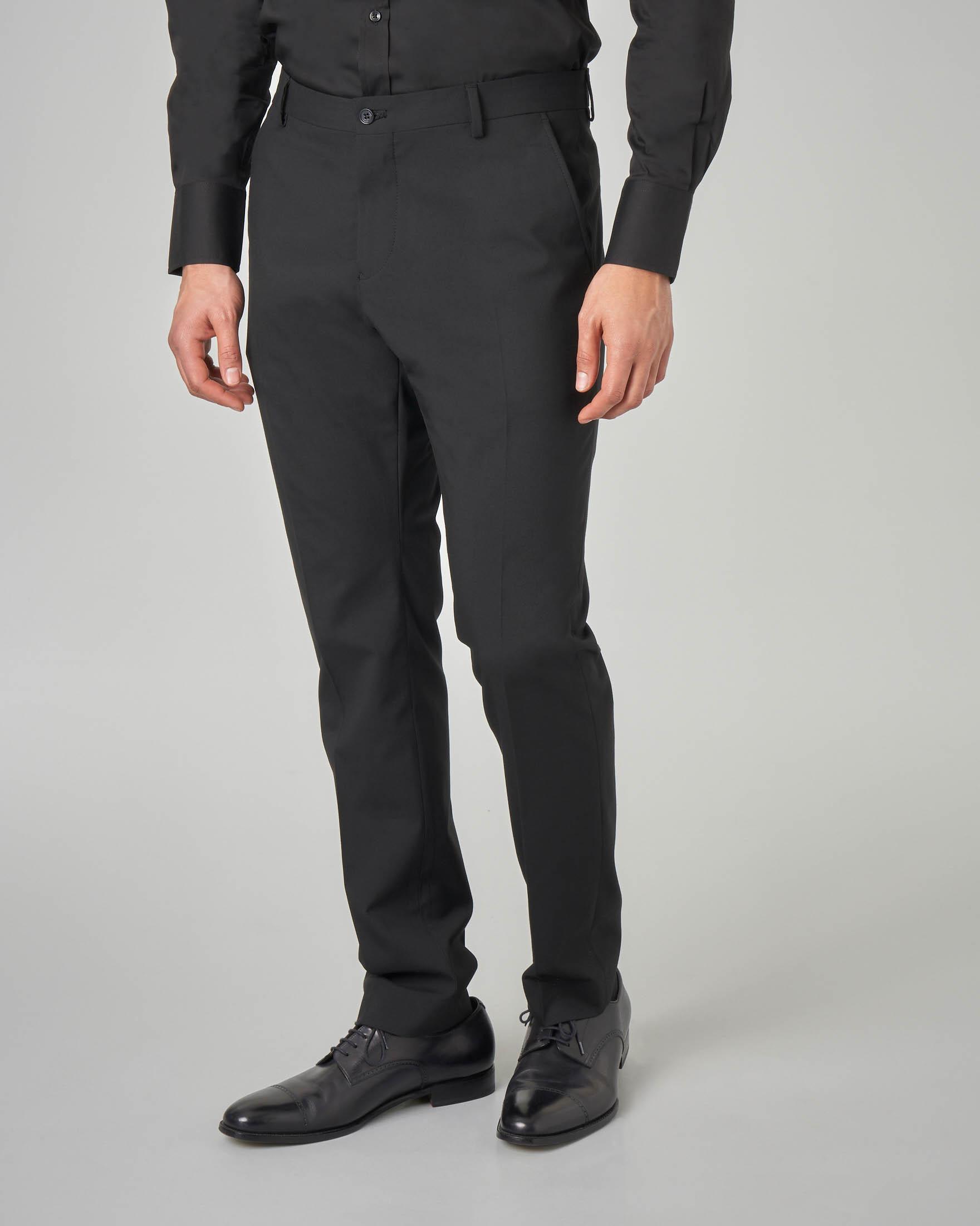 Pantalone nero tinta unita