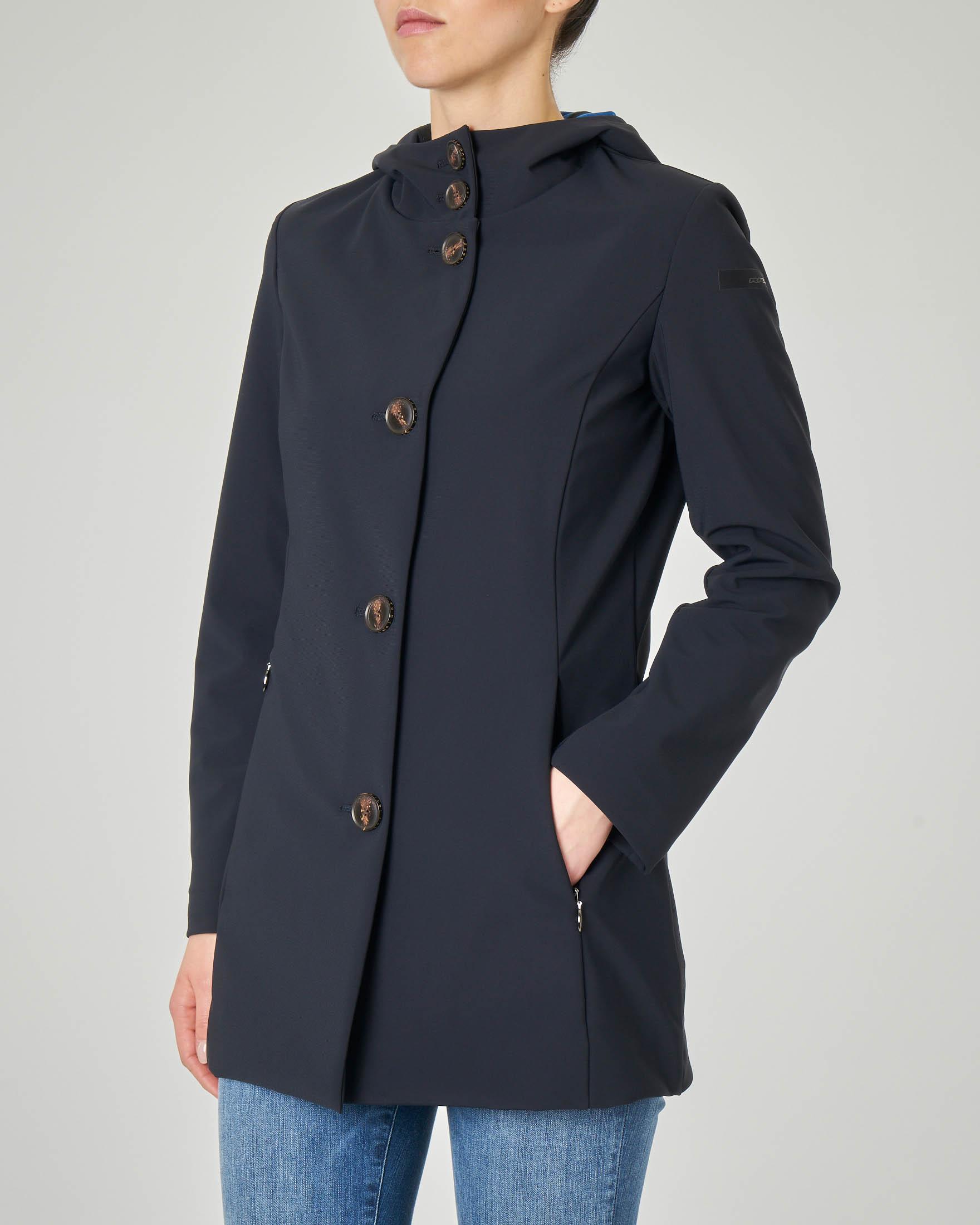 Cappotto sfiancato blu tessuto tecnico con cappuccio