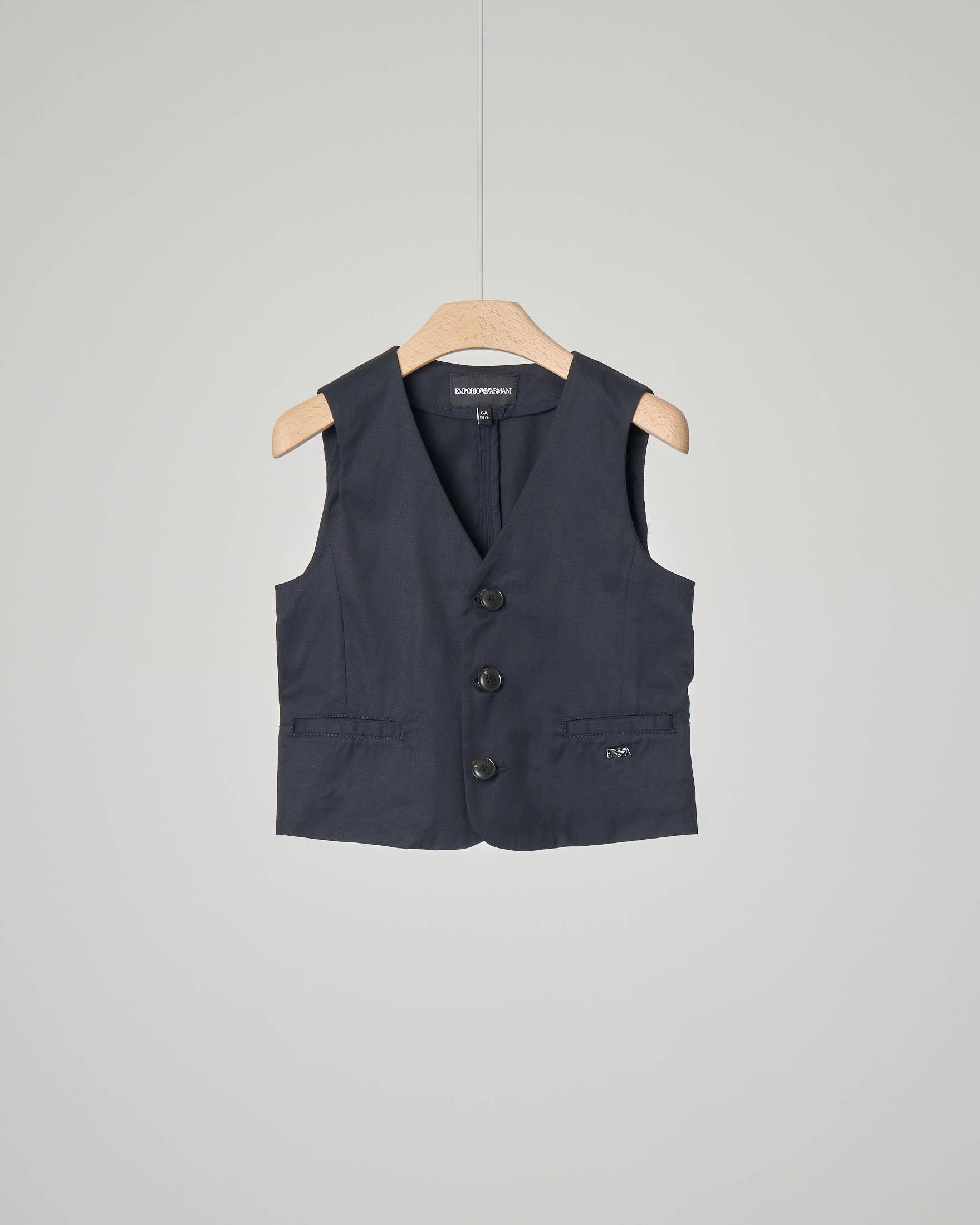 Gilet blu in cotone stretch
