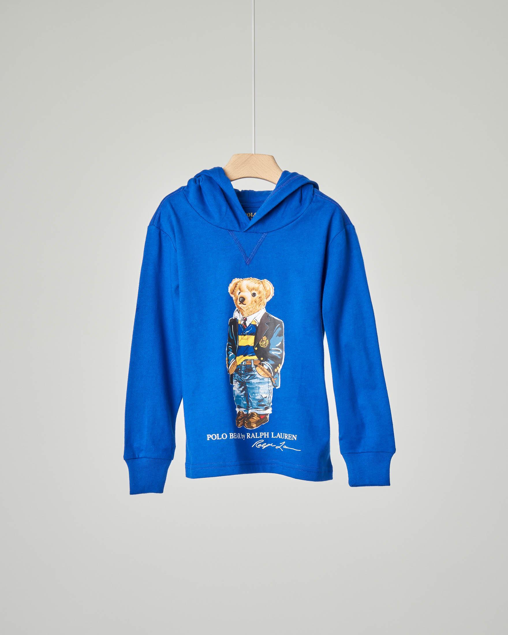 T-shirt blu royal manica lunga con cappuccio