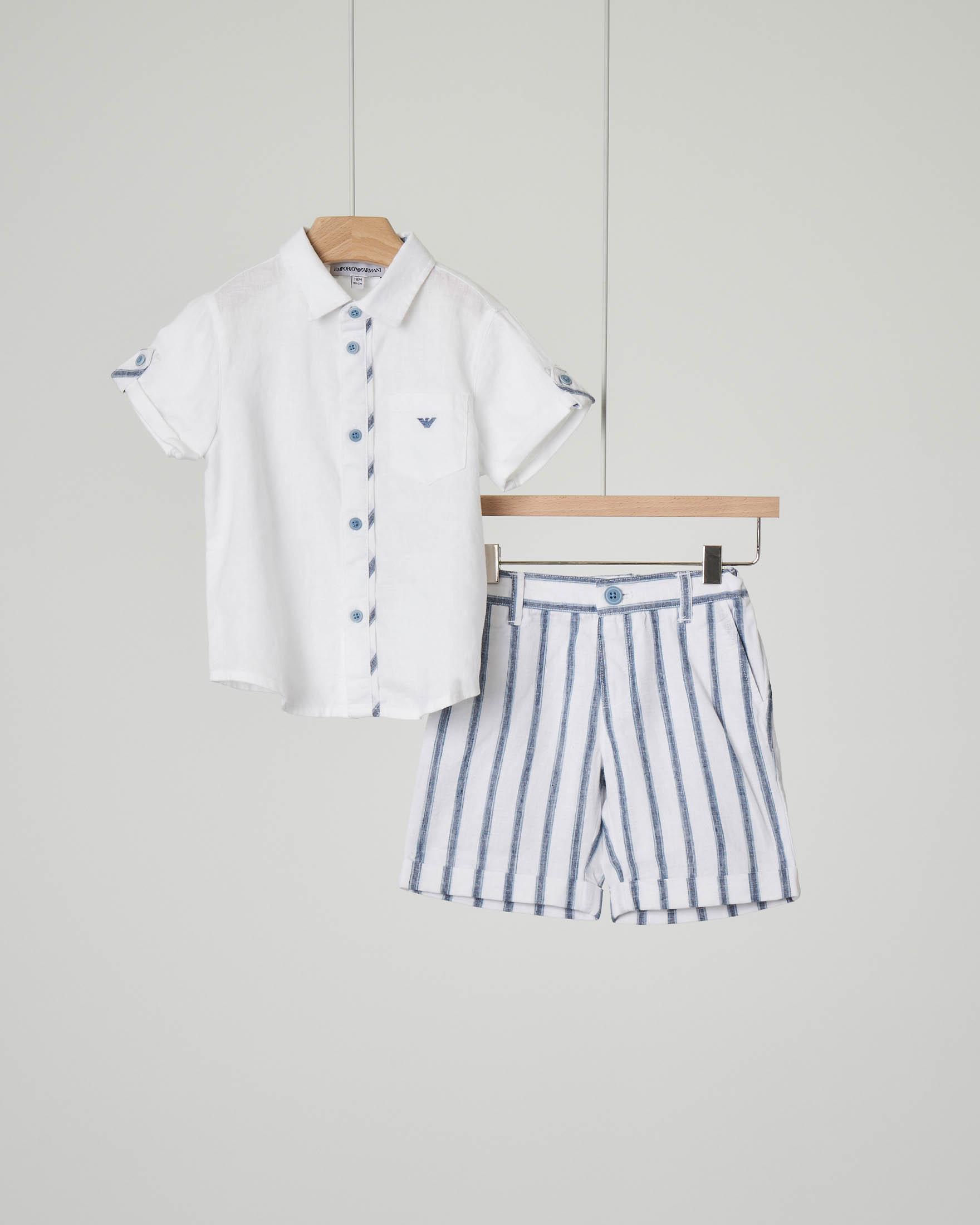 Completo camicia mezza manica e bermuda a righe