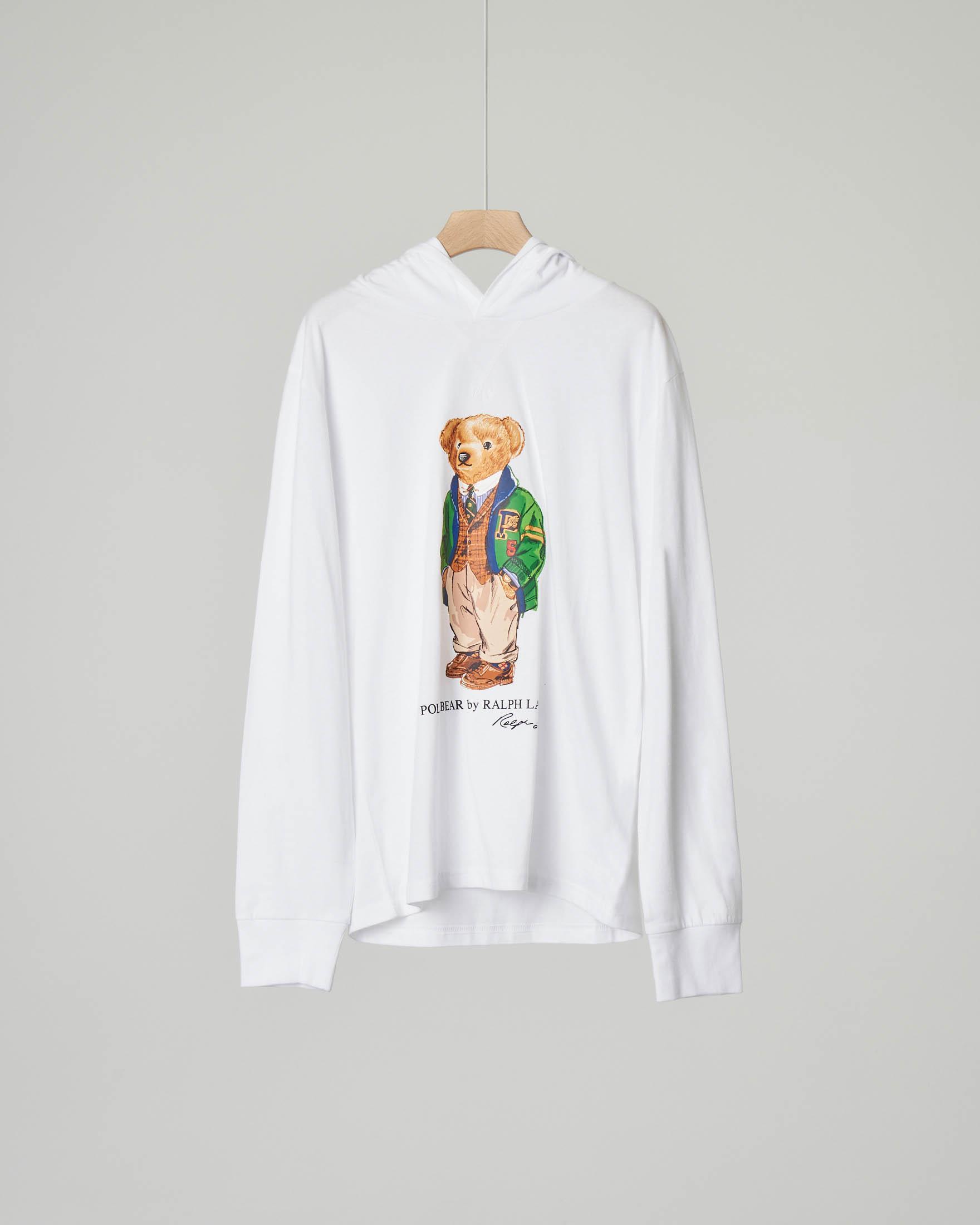 T-shirt bianca manica lunga con cappuccio