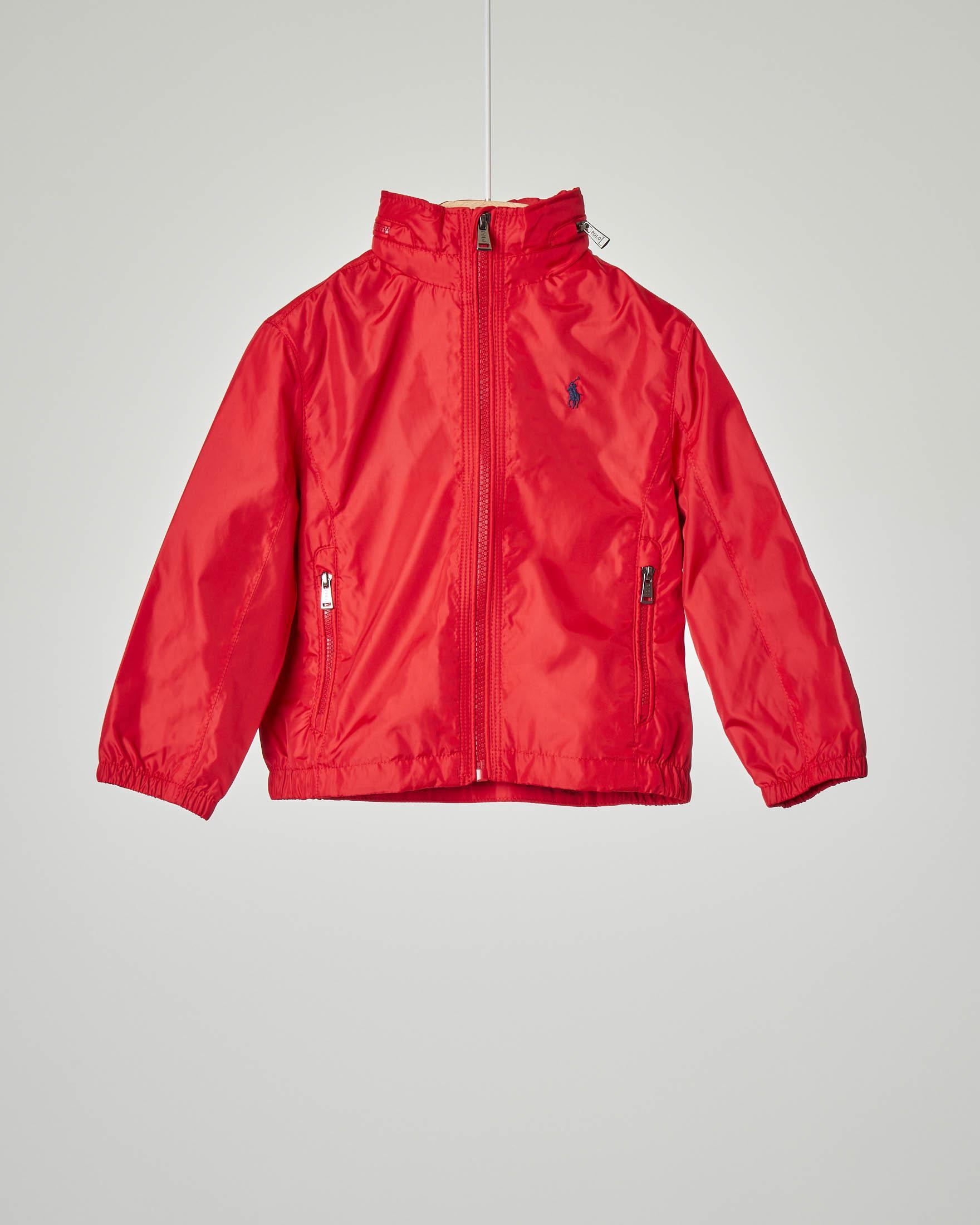 Giacca rossa in nylon con cappuccio estraibile