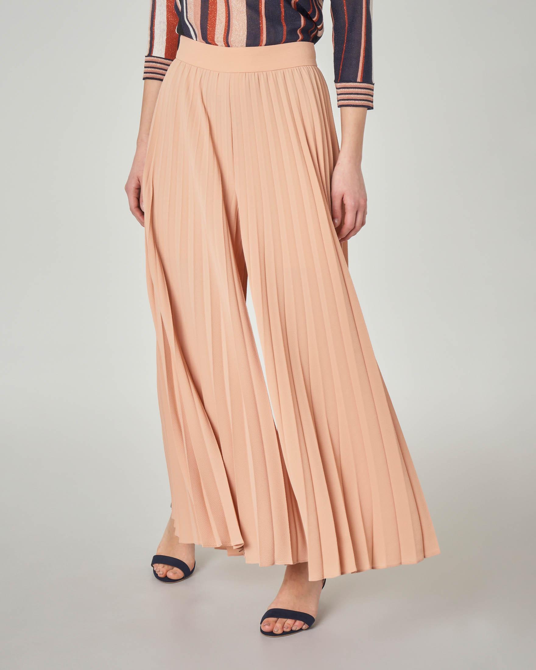 Pantalone palazzo plissè color cipria