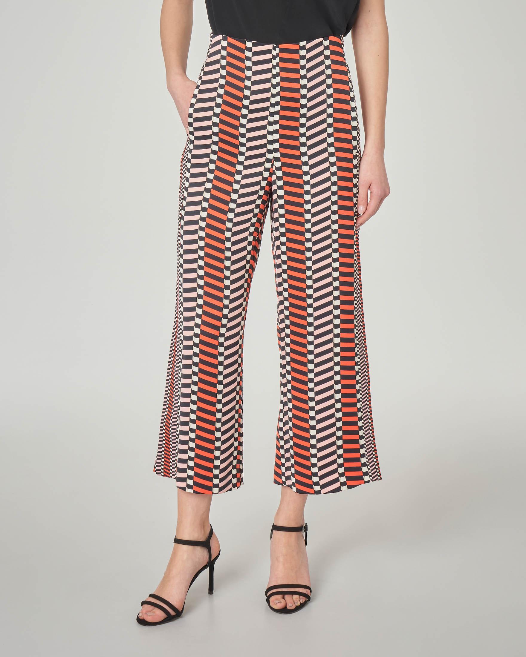 Pantalone culotte a fantasia optical