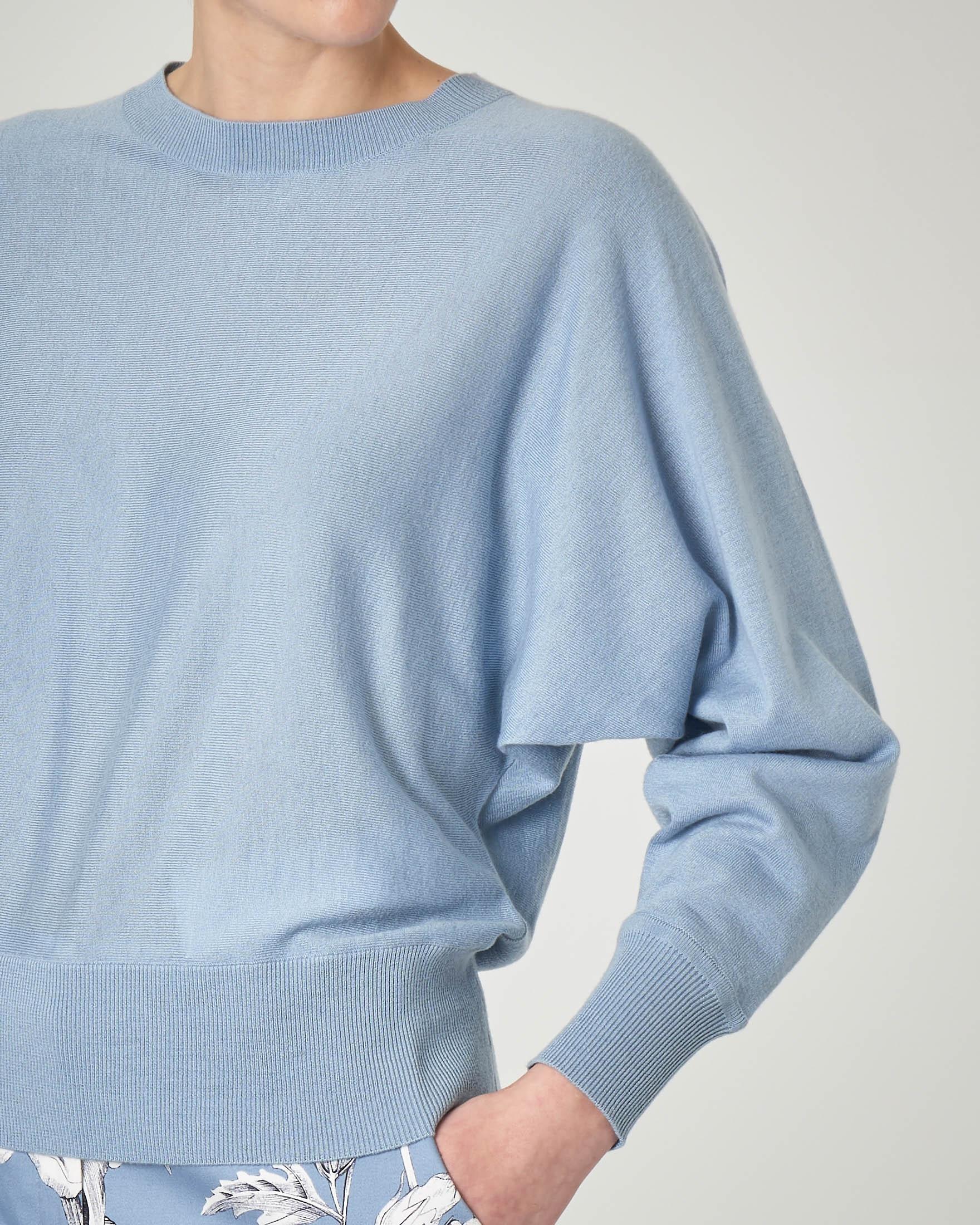 Maglia girocollo azzurra in seta e cotone