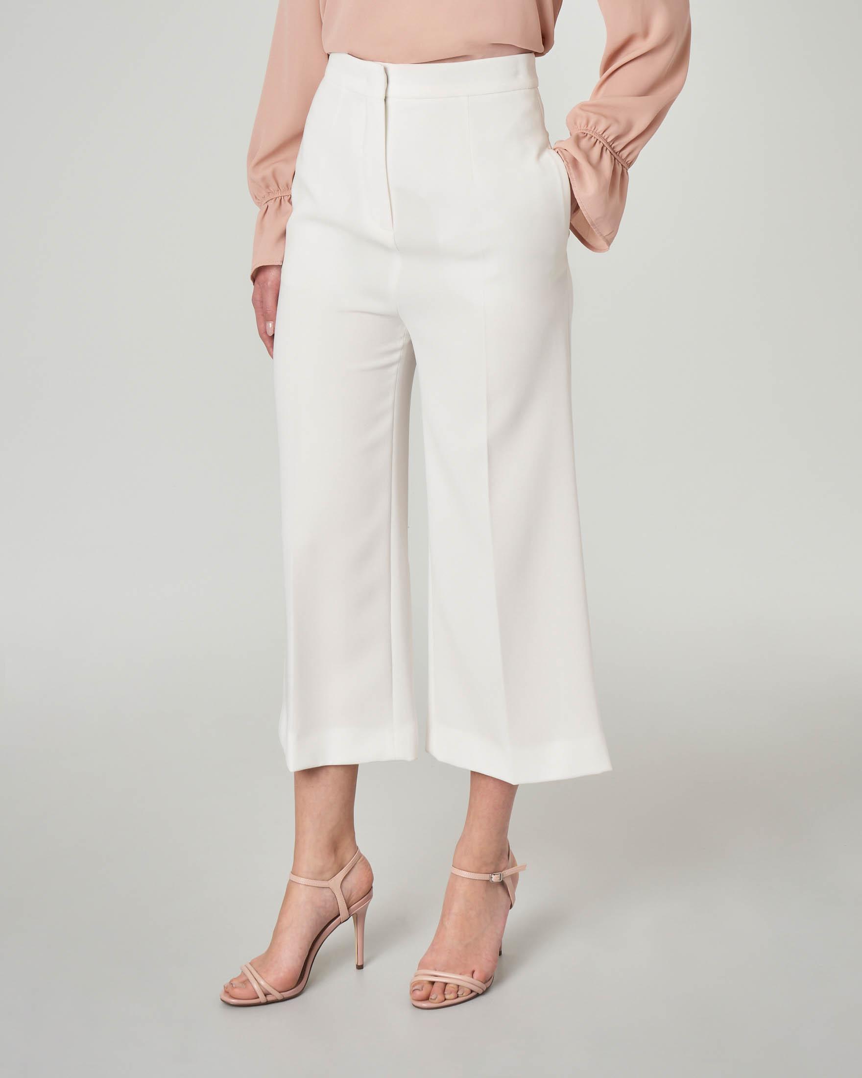 Pantaloni culotte in cady color bianco