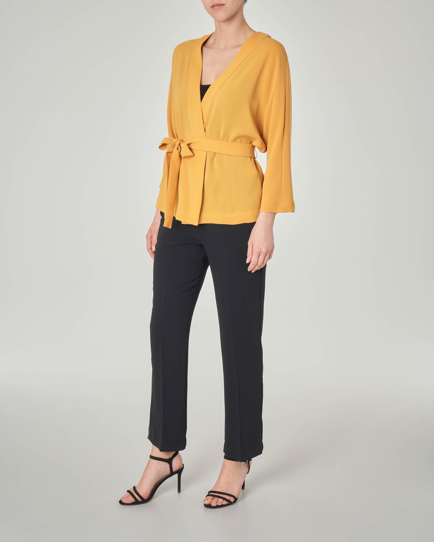 Giacca corta gialla a kimono in cady