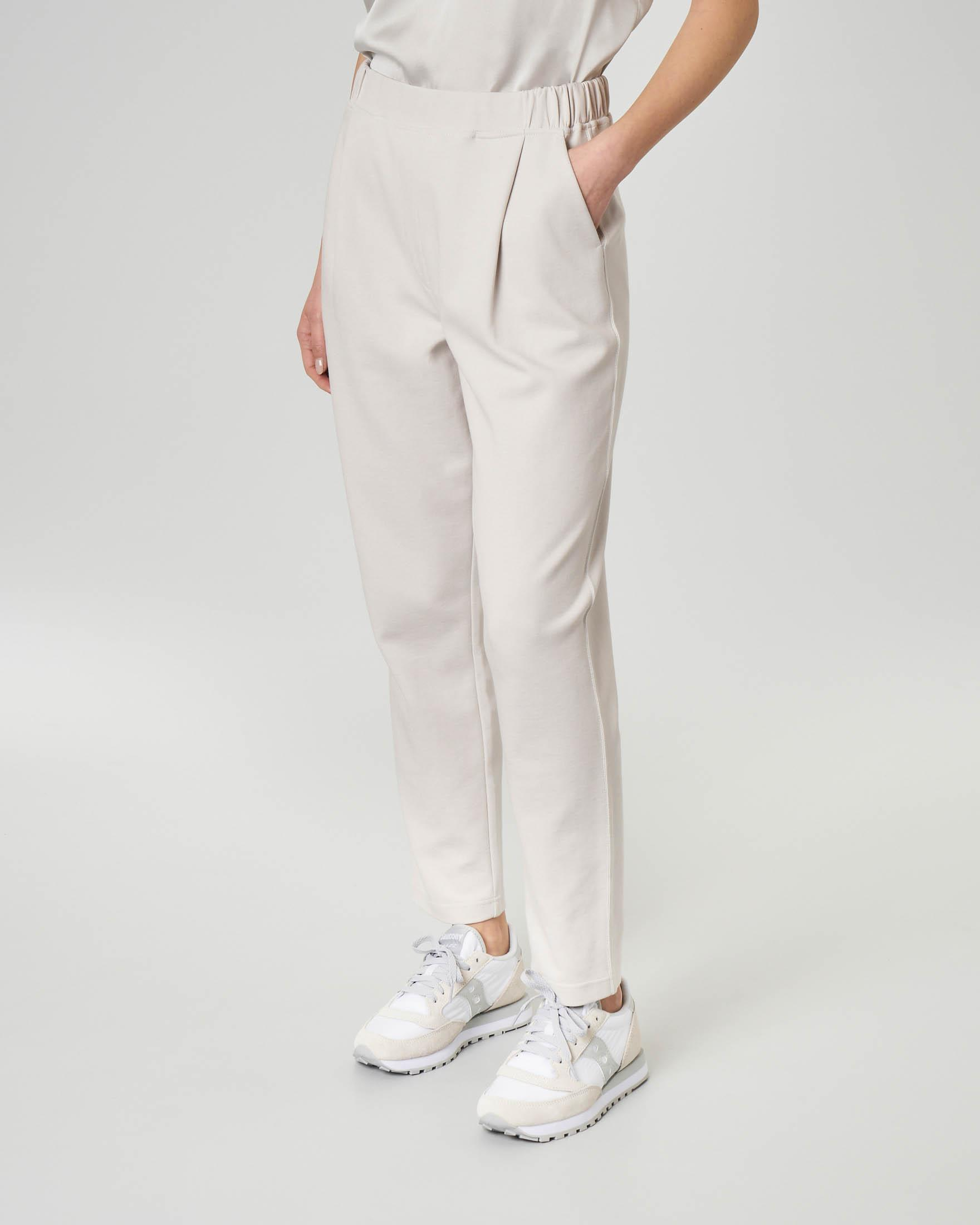 Pantaloni in felpa color gesso