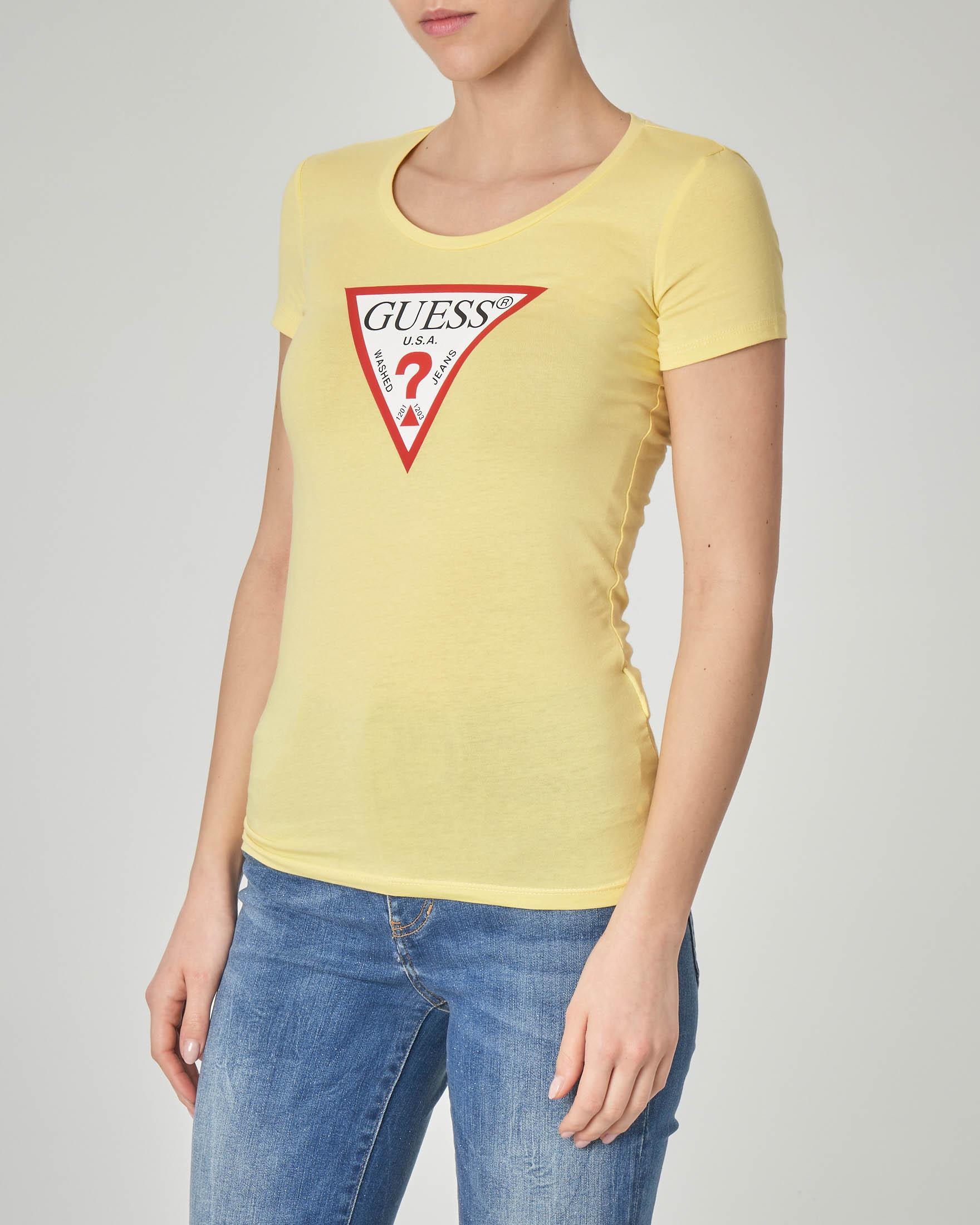 T-shirt gialla aderente maniche corte con logo