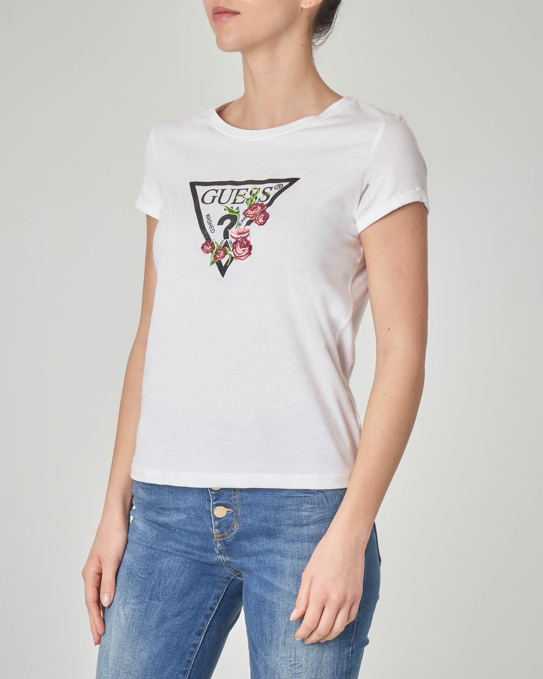 T-shirt biacna in cotone con logo in lurex e ricamo