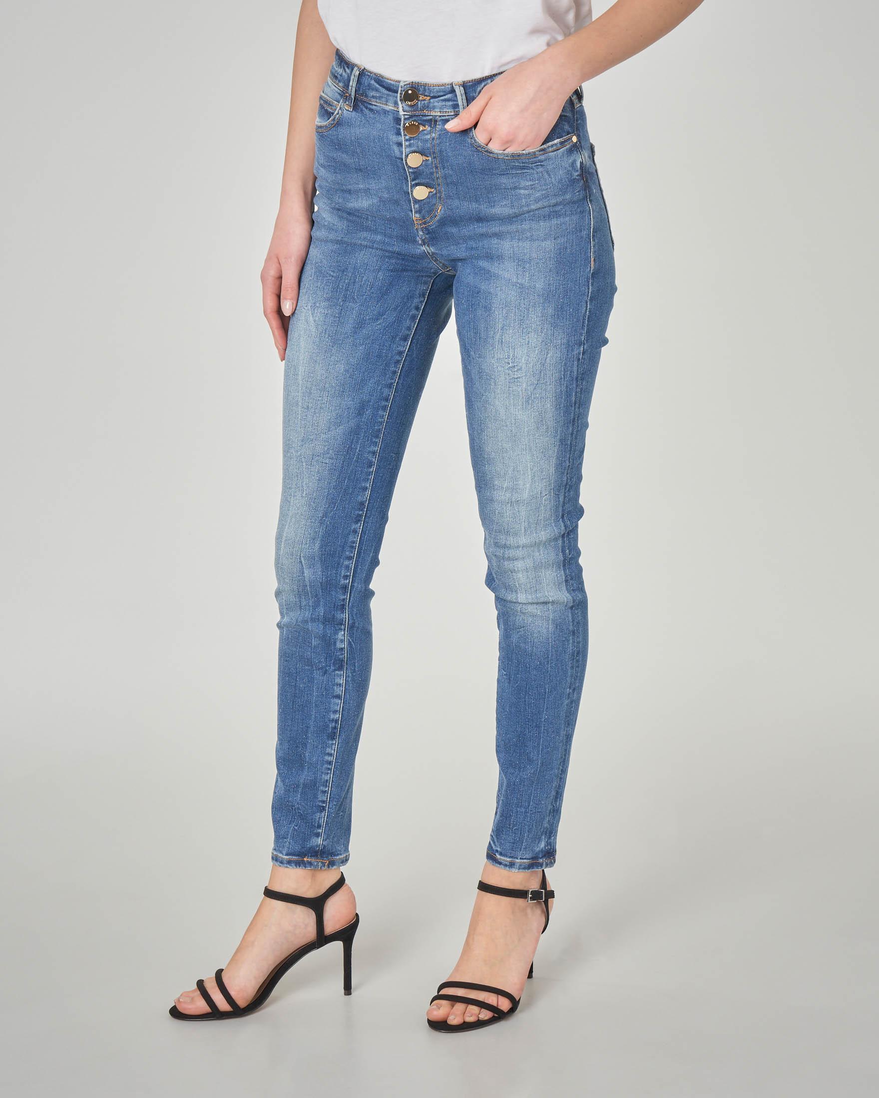 Jeans skinny a vita alta con bottoni a specchio