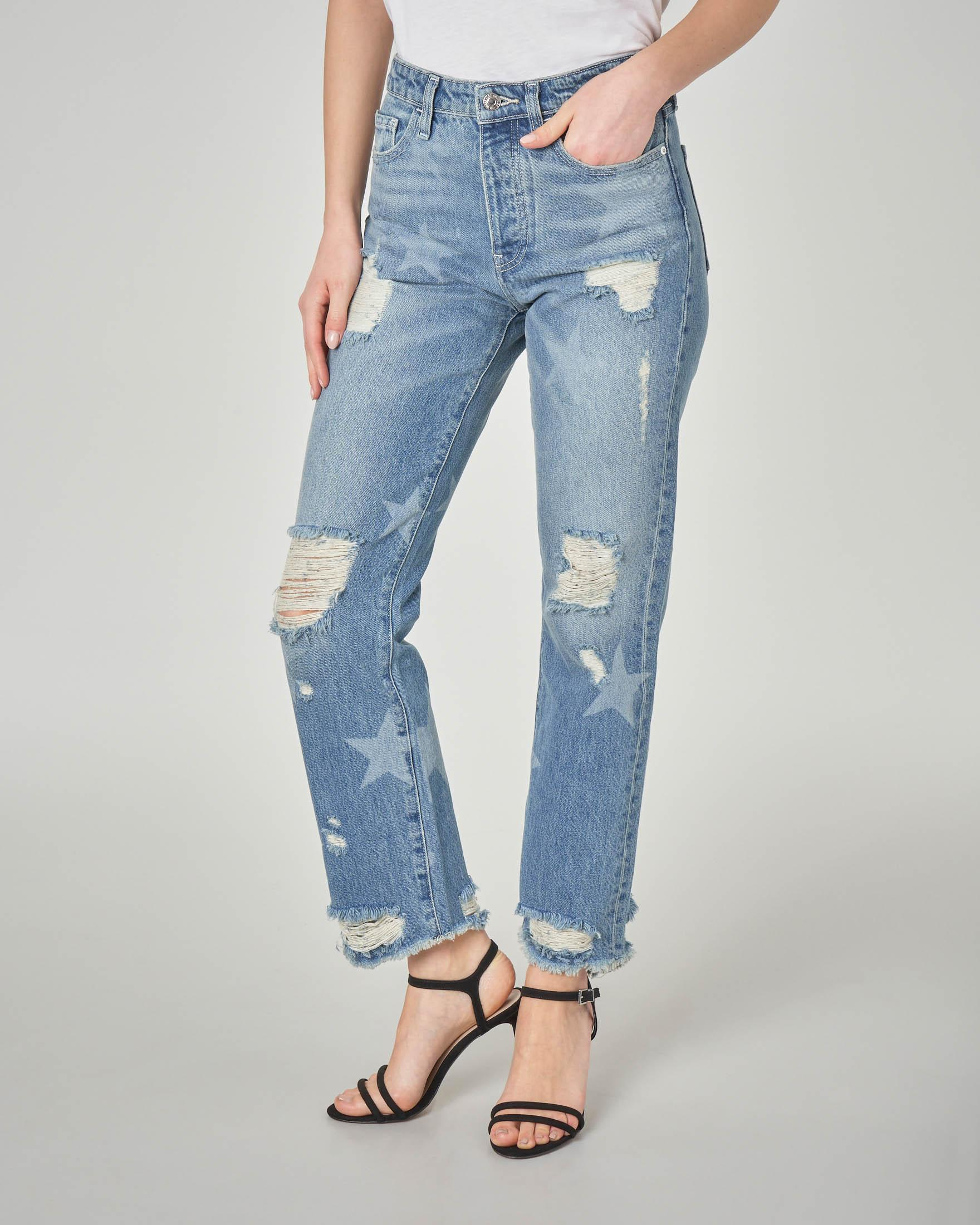 Jeans con rotture e stelle