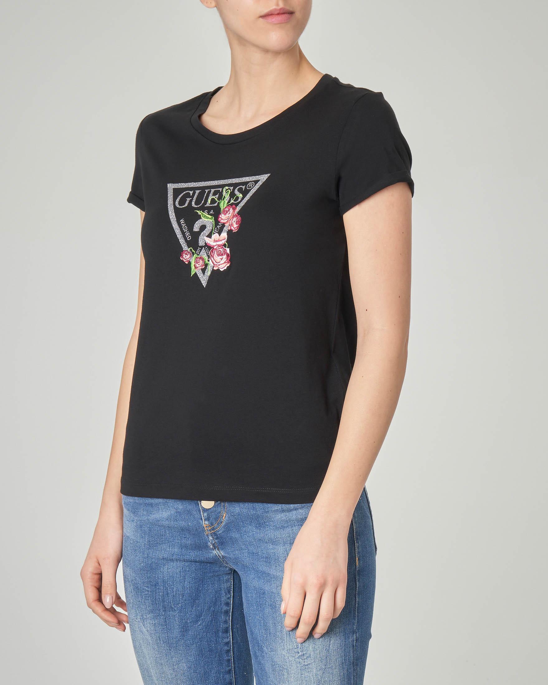 T-shirt nera in cotone con logo in lurex e ricamo