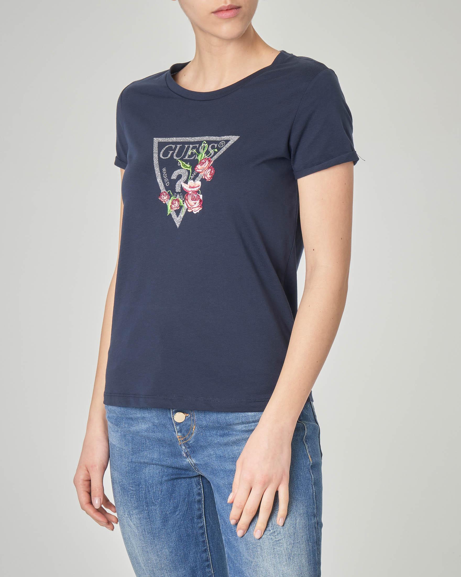 T-shirt blu in cotone con logo in lurex e ricamo